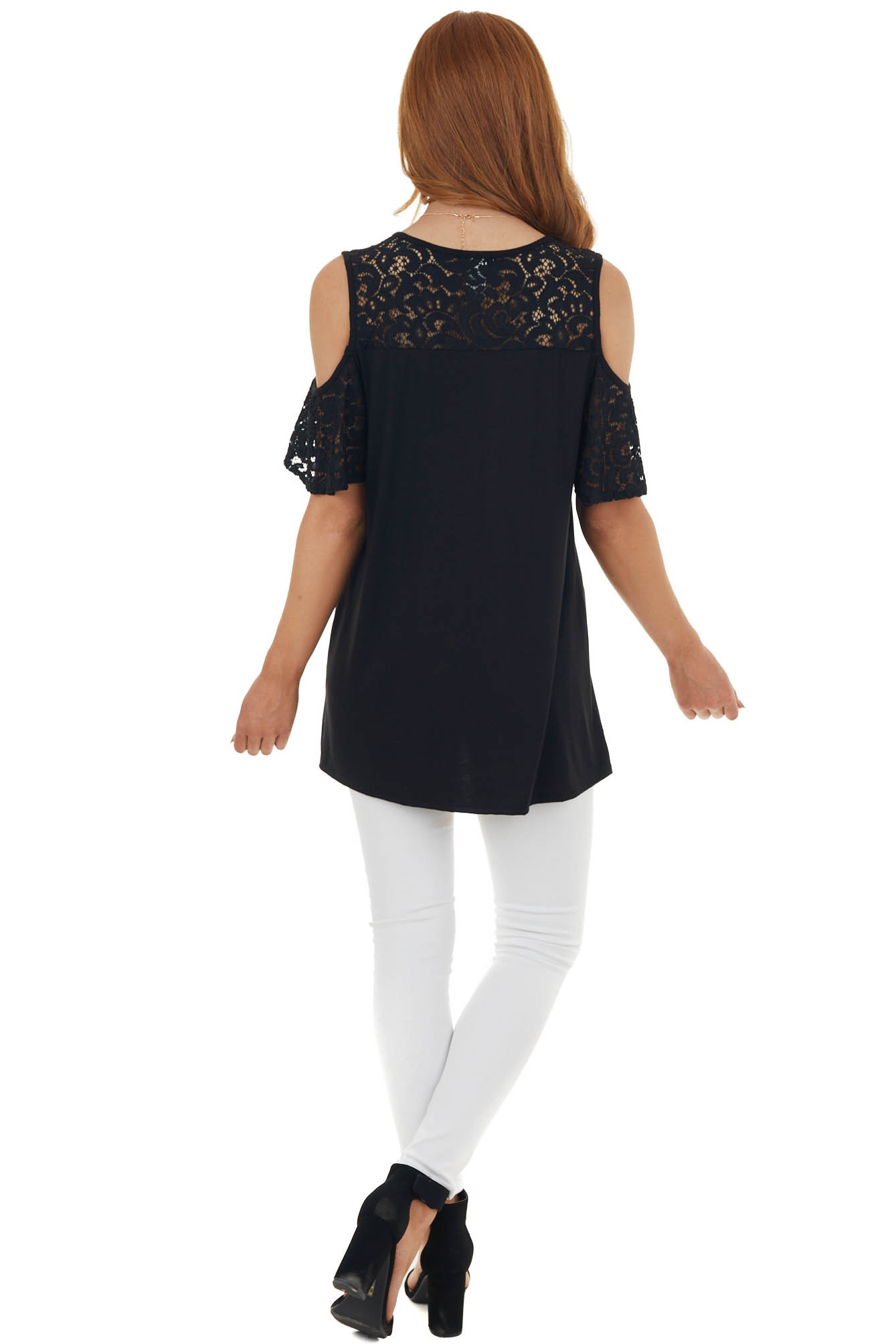 Black Cold Shoulder Short Sleeve Knit Top with Lace Detail
