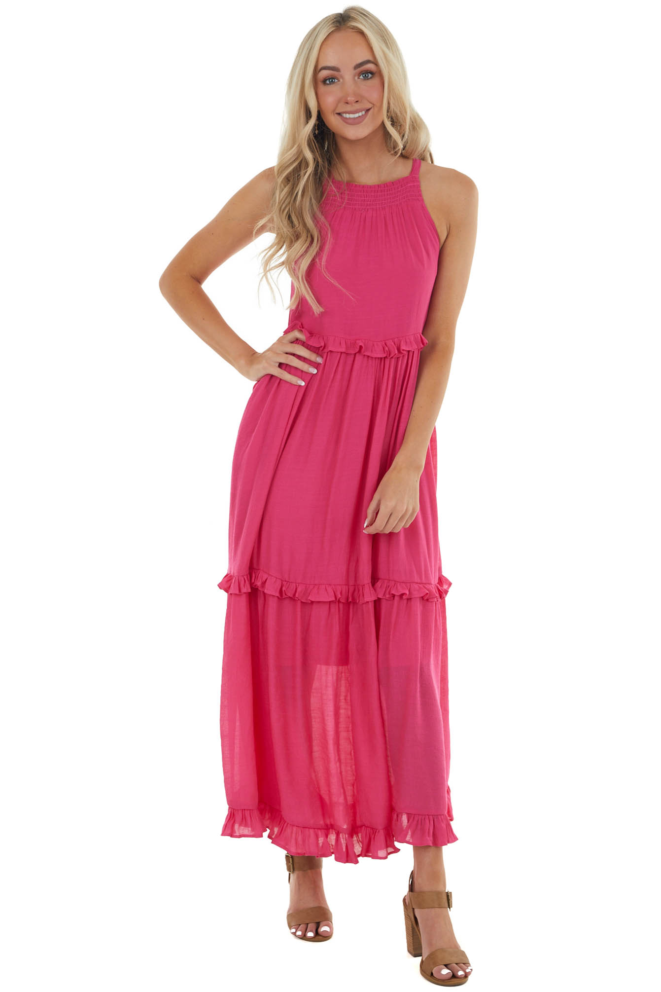 Magenta Tiered Halter Neck Woven Maxi Dress with Keyhole
