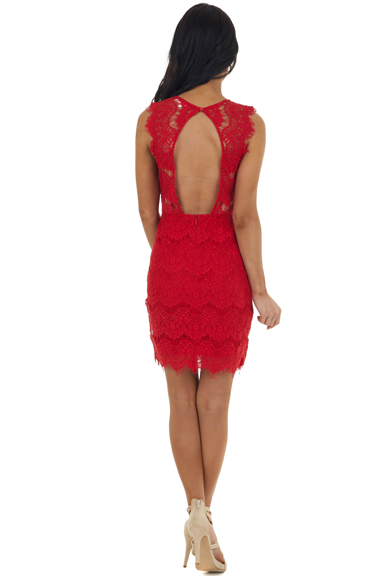 Ruby Sleeveless Open Back Lace Dress with Scalloped Edges