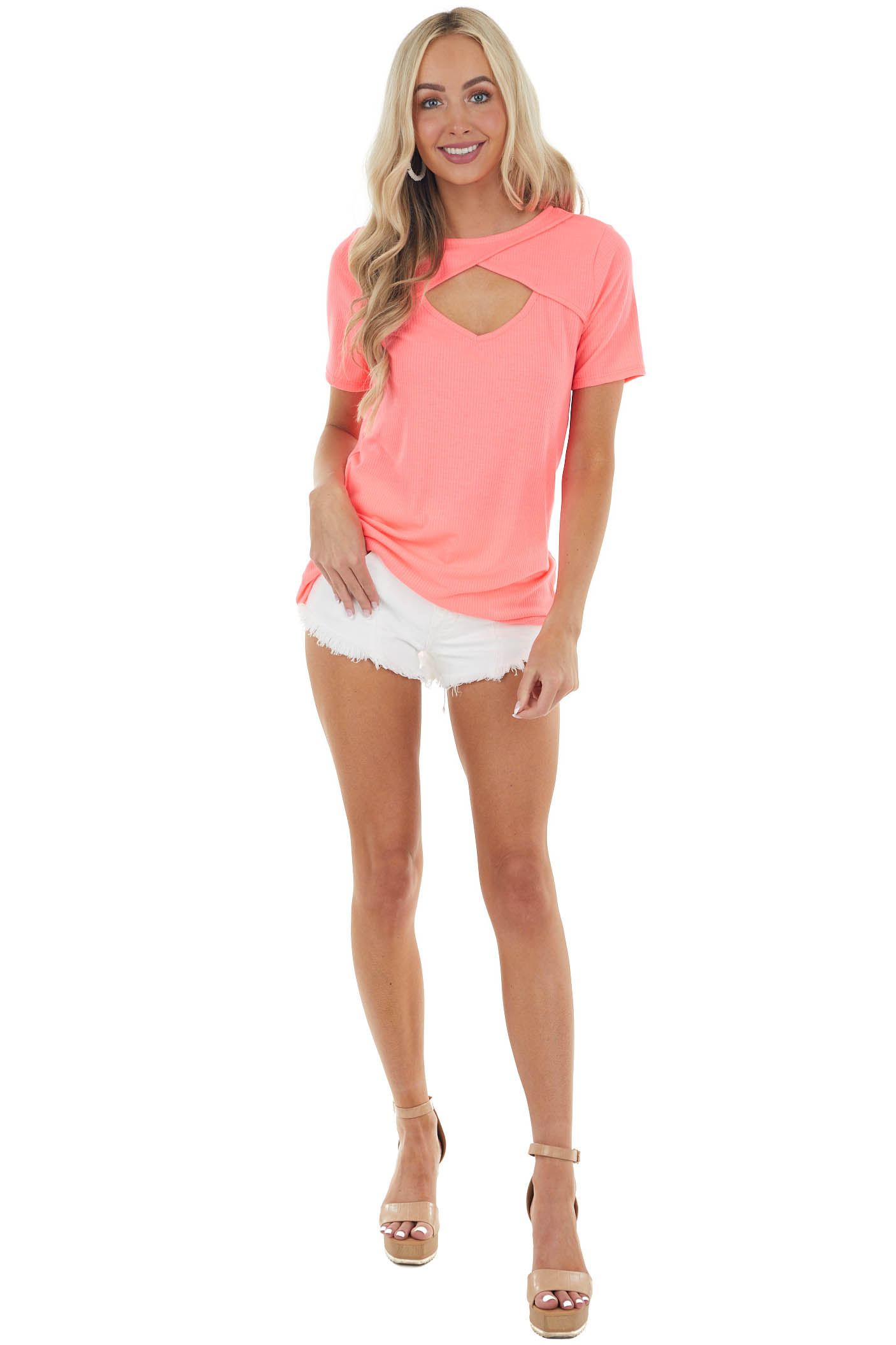 Neon Pink Chest Cut Out Ribbed Knit Top with Short Sleeves