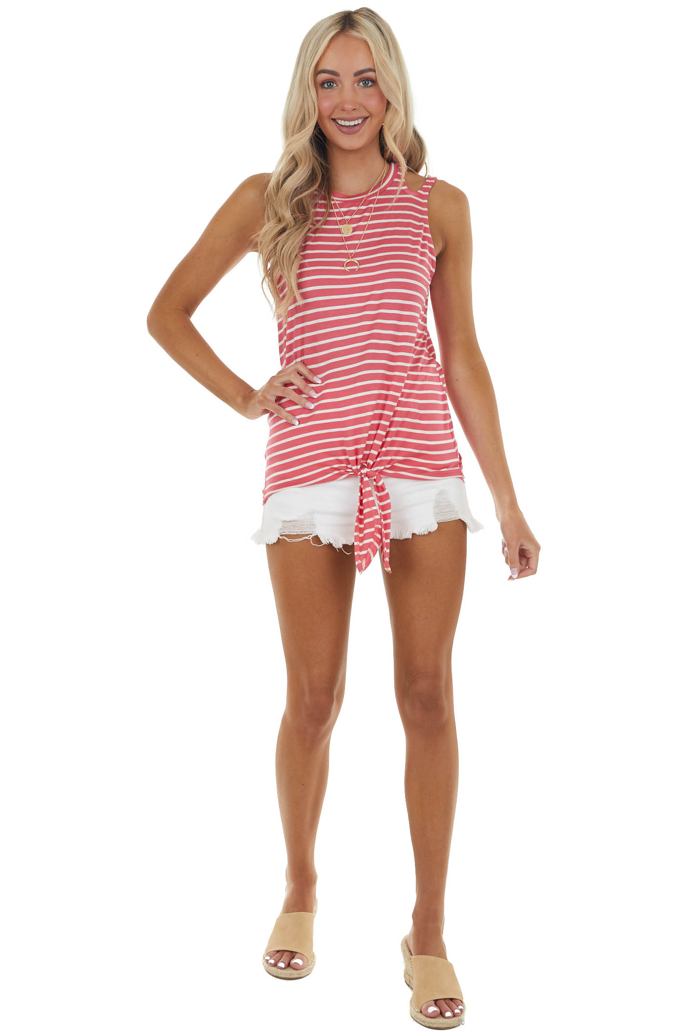 Watermelon Striped Knit Tank Top with Shoulder Cut Outs