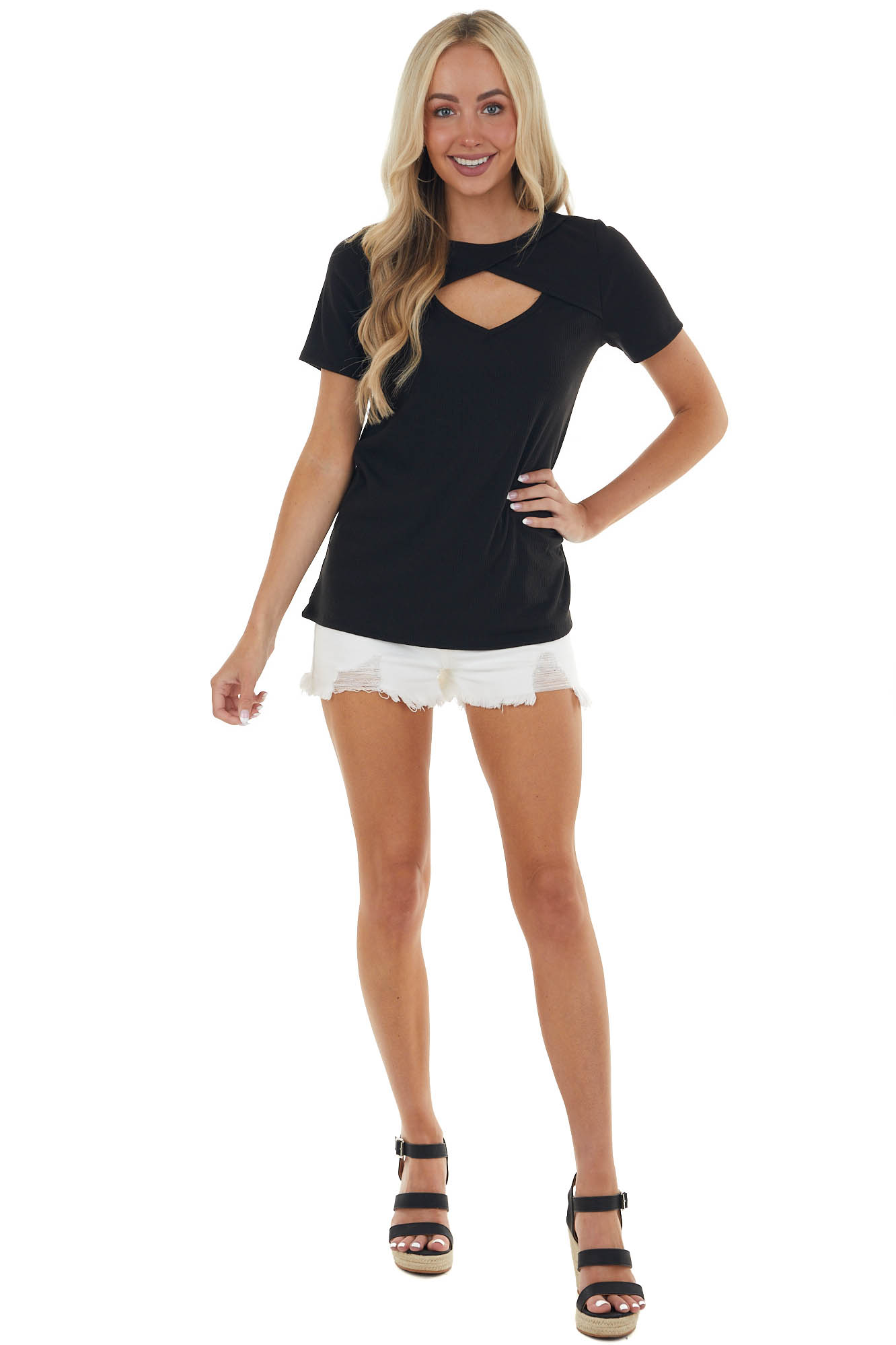 Black Chest Cut Out Ribbed Knit Top with Short Sleeves