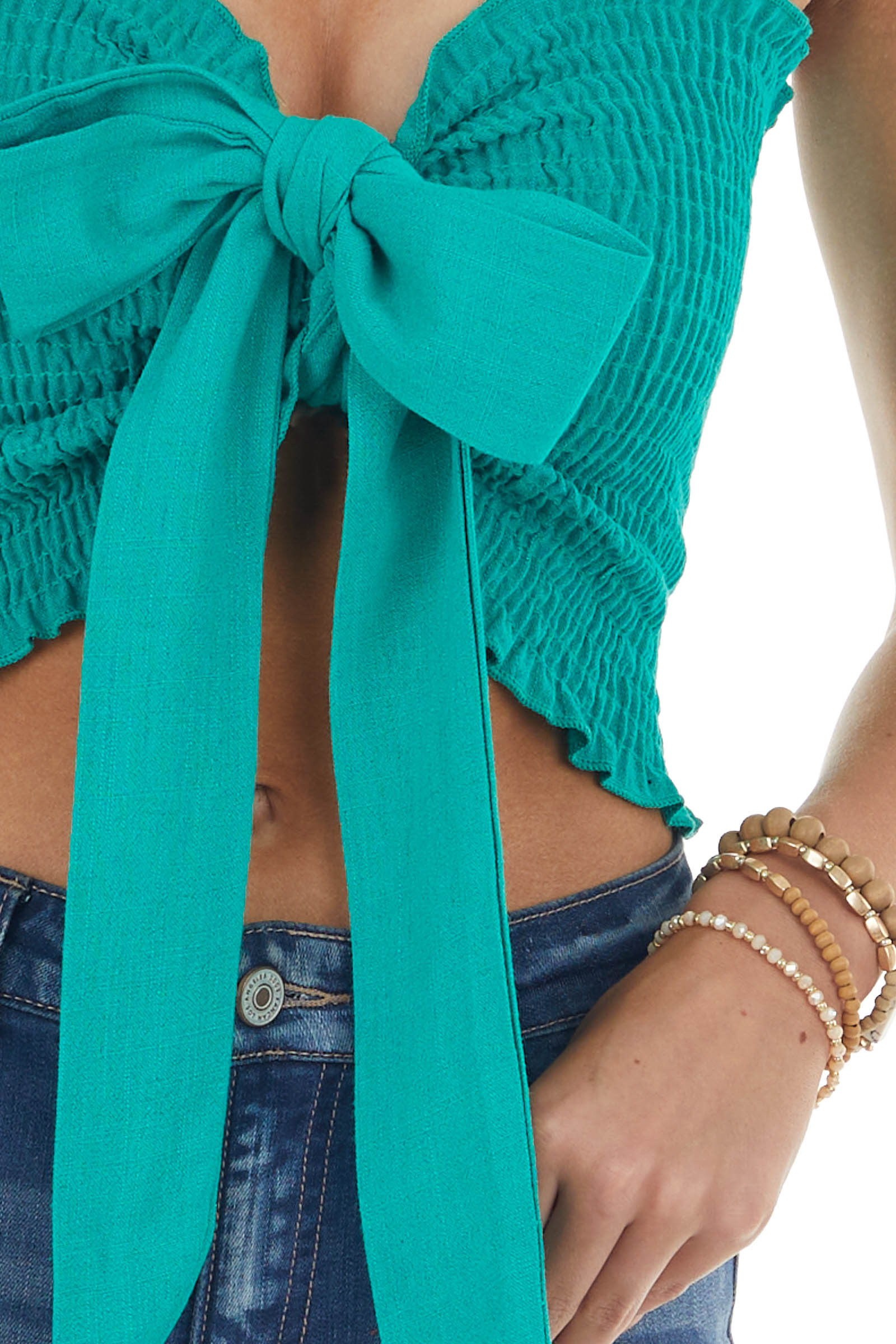 Kelly Green Strapless Smocked Woven Crop Top with Tie Detail