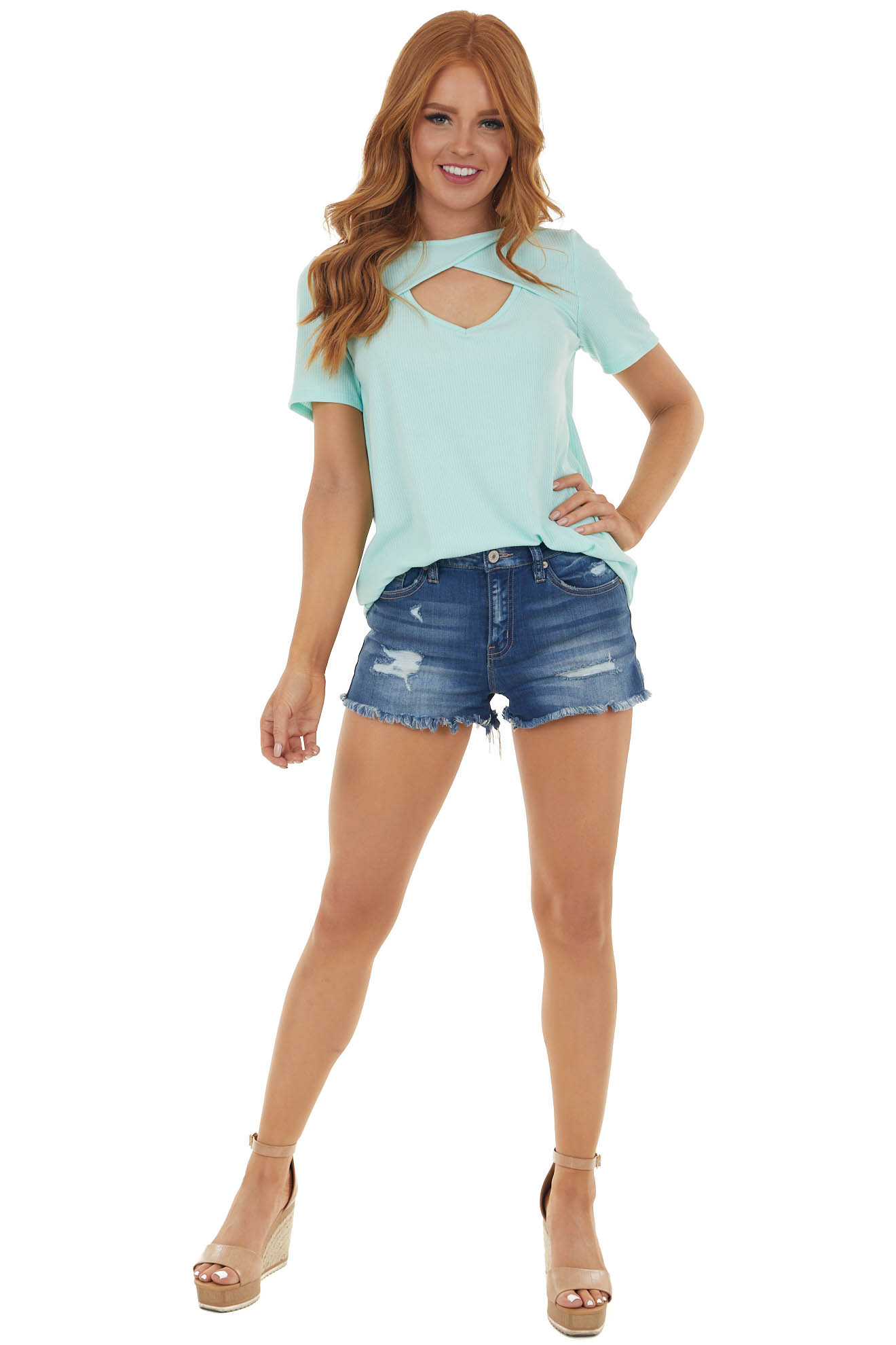 Mint Chest Cut Out Ribbed Knit Top with Short Sleeves