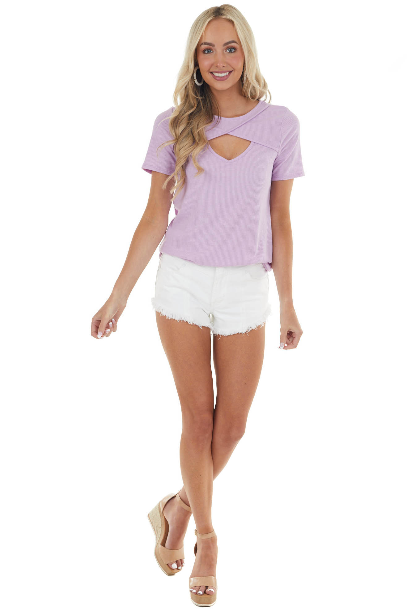 Lavender Chest Cut Out Ribbed Knit Top with Short Sleeves