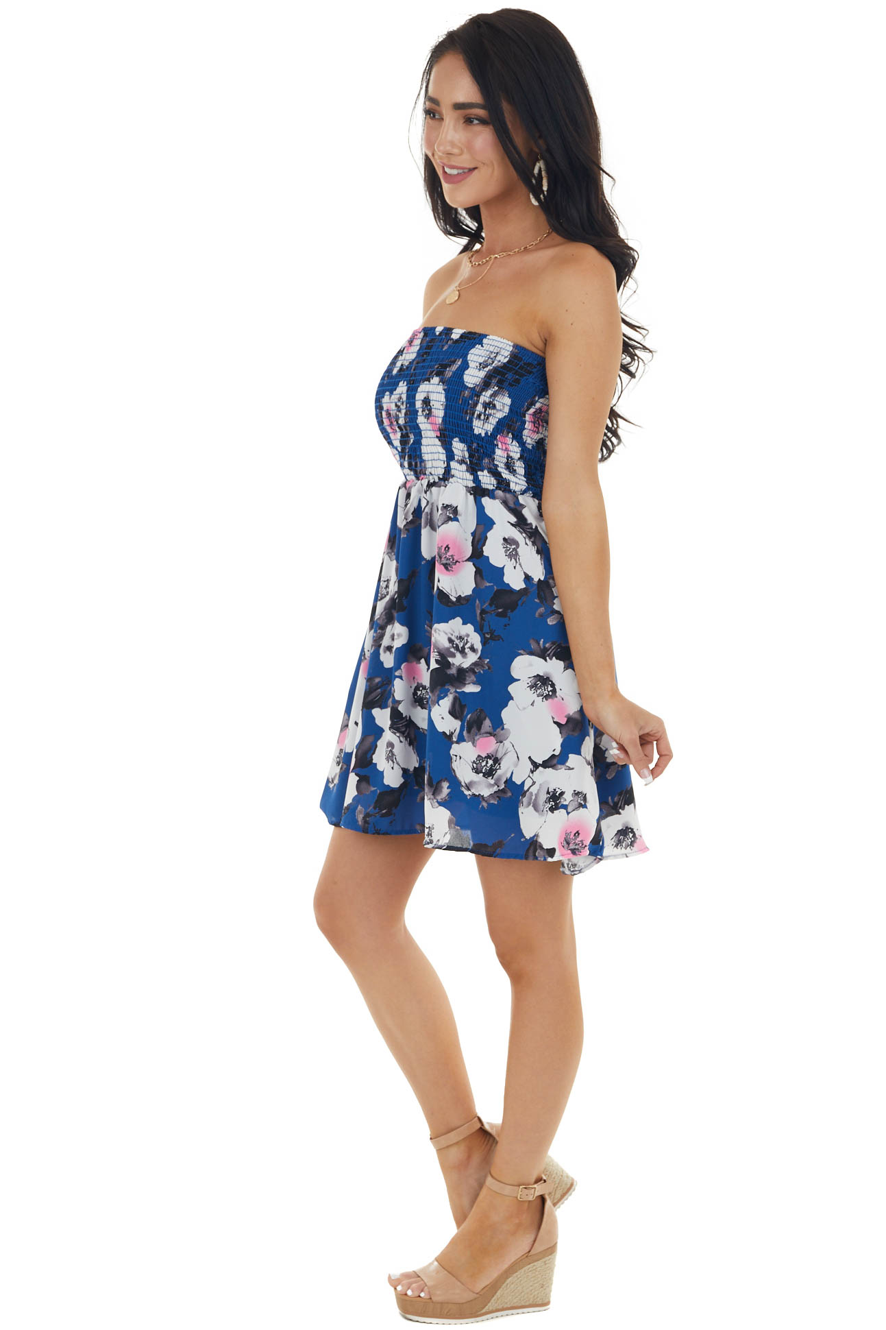 Catalina Blue Floral Print Strapless Smocked Bust Mini Dress