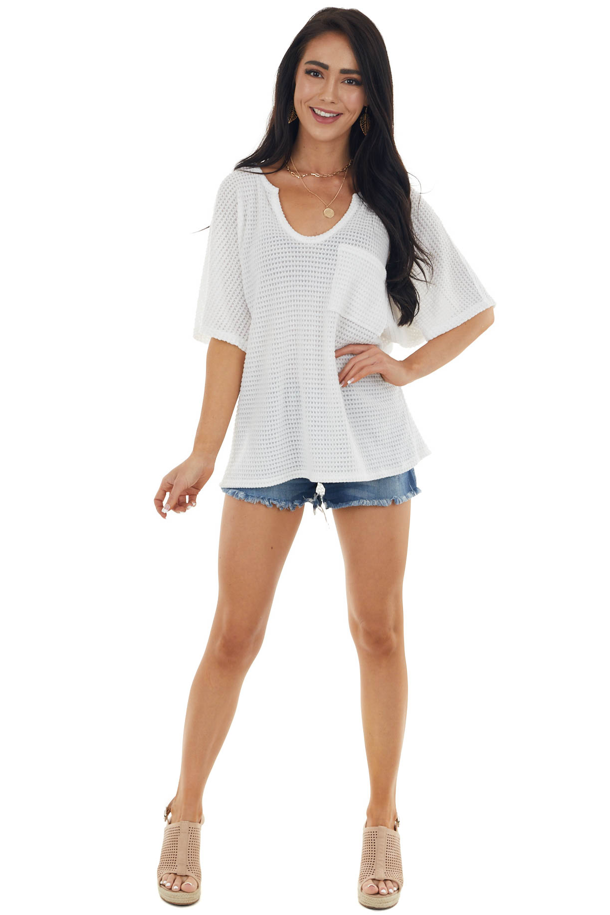 Ivory Waffle Knit Short Sleeve Top with Front Pocket Detail