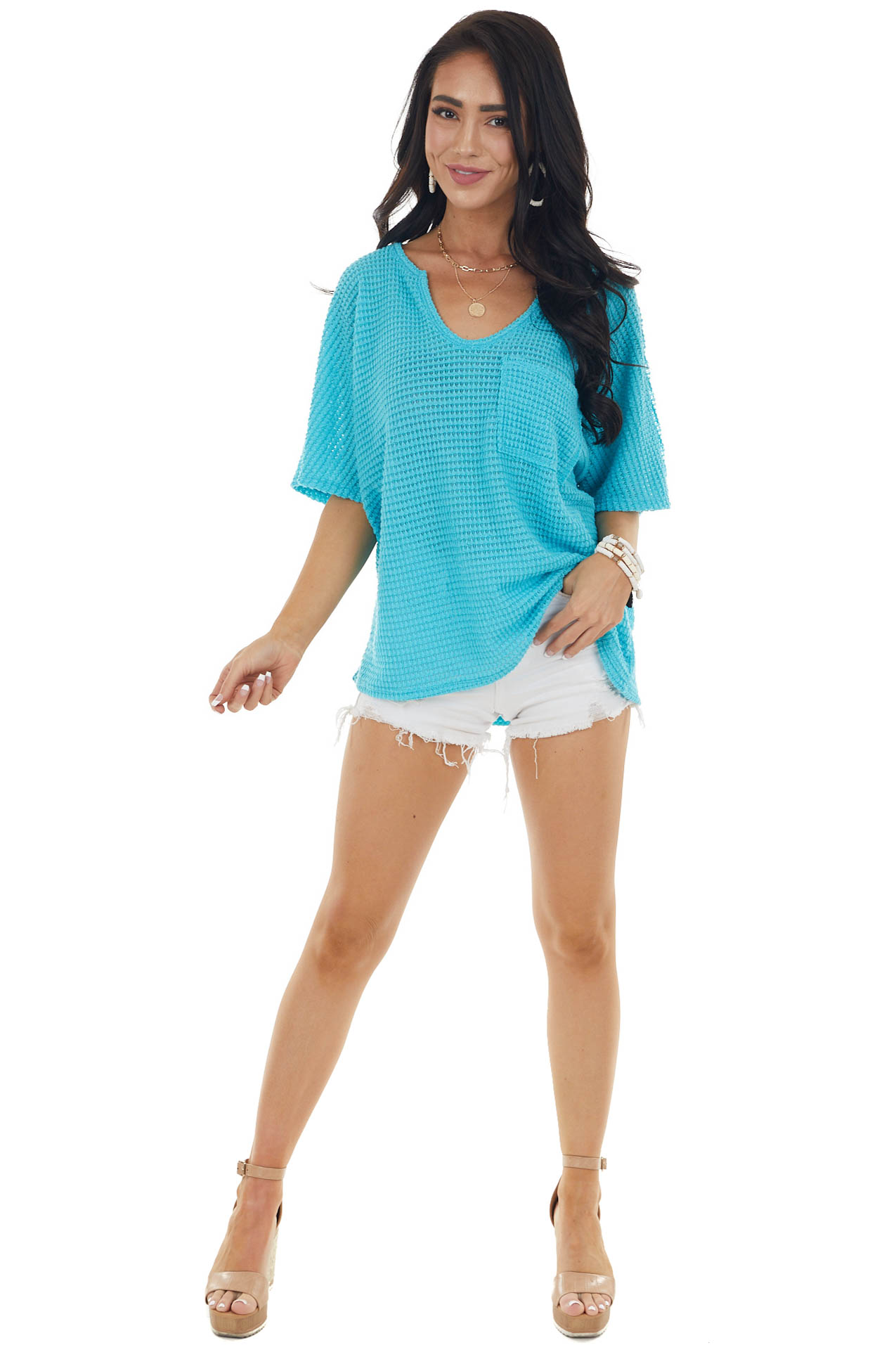 Teal Waffle Knit Short Sleeve Top with Front Pocket Detail