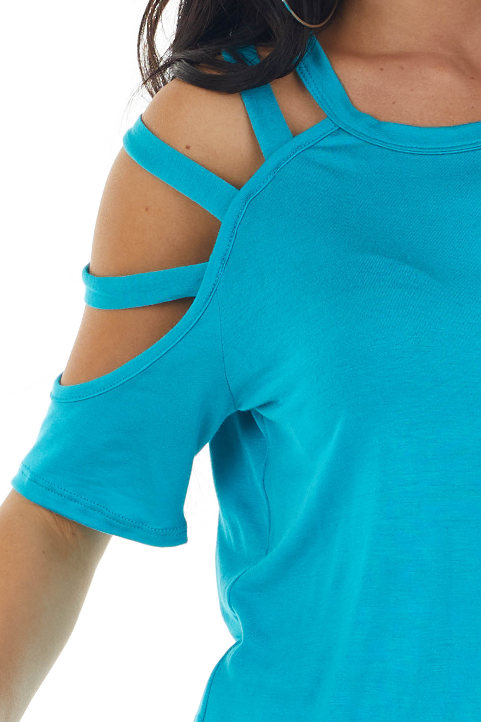 Vivid Sea Blue One Caged Sleeve Soft Short Sleeve Knit Top