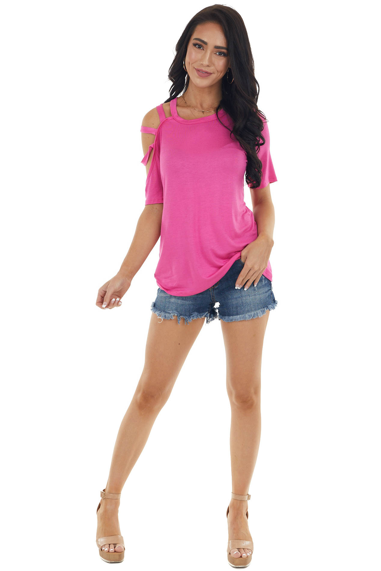 Vivid Orchid One Caged Sleeve Soft Short Sleeve Knit Top
