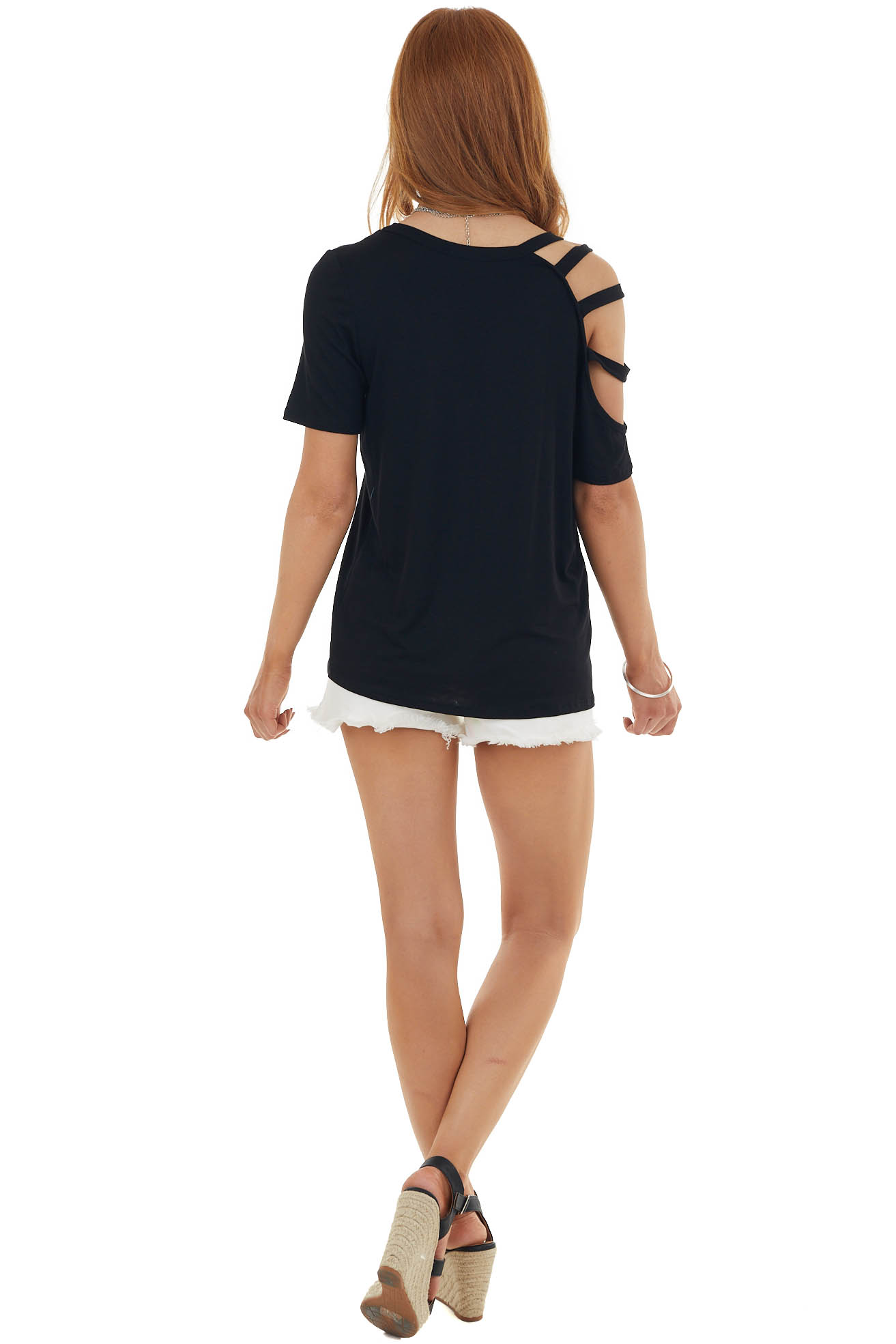 Black One Caged Sleeve Soft Short Sleeve Knit Top