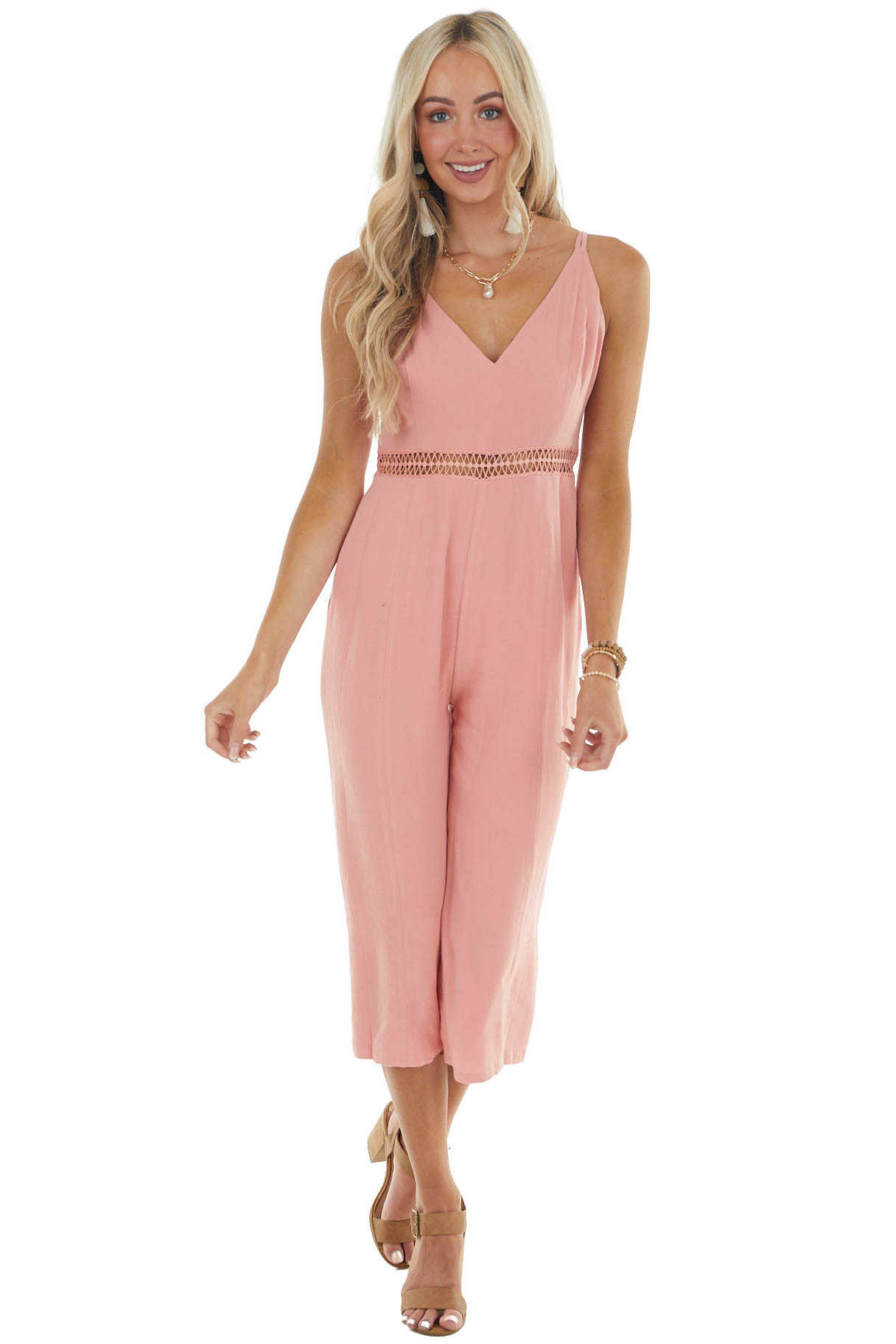 Coral Sleeveless Jumpsuit with Lace Details on Waist