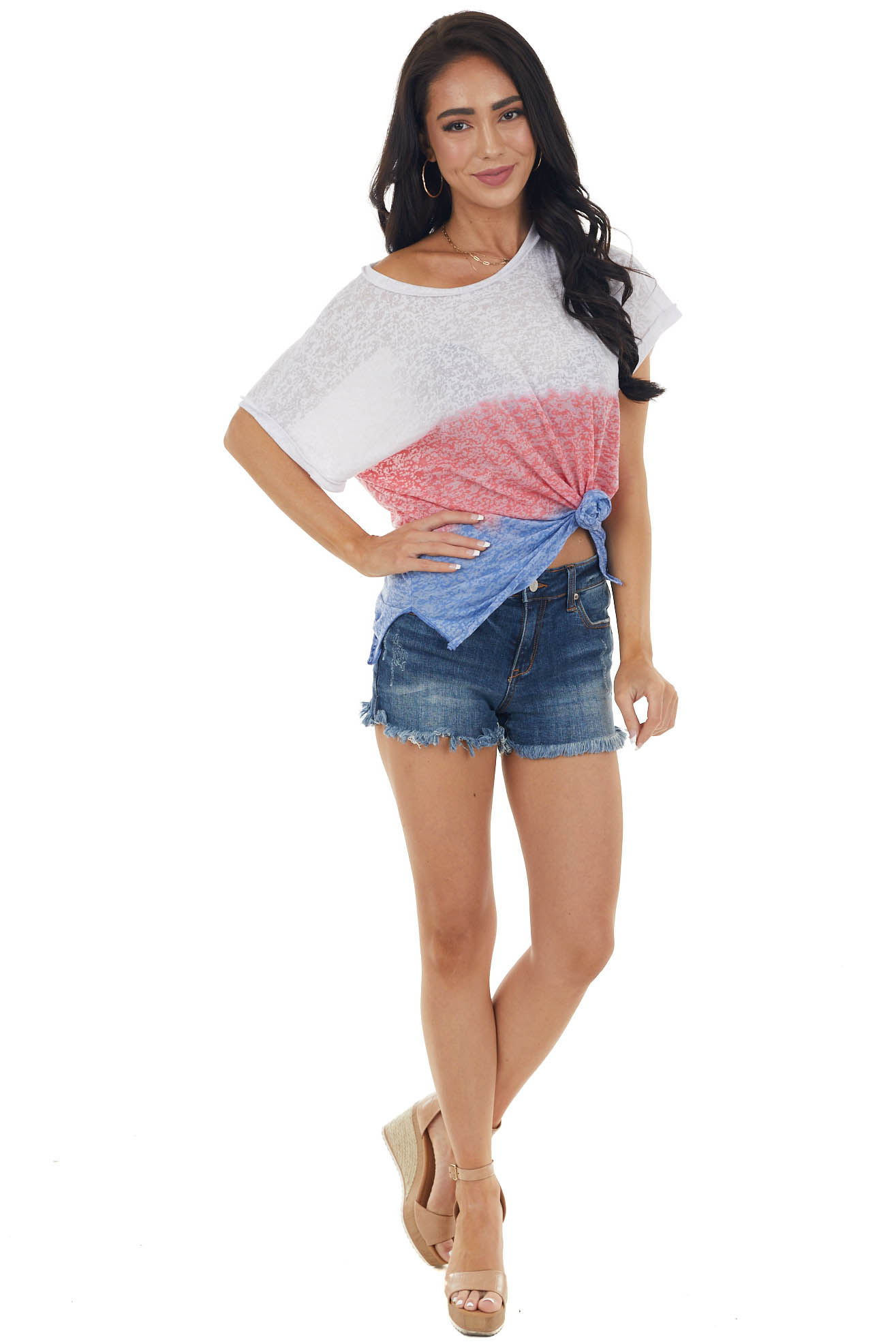 Off White Colorblock Short Sleeve Sheer Jersey Knit Top
