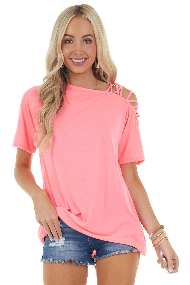 Neon Pink One Cold Shoulder Top with Criss Cross Straps