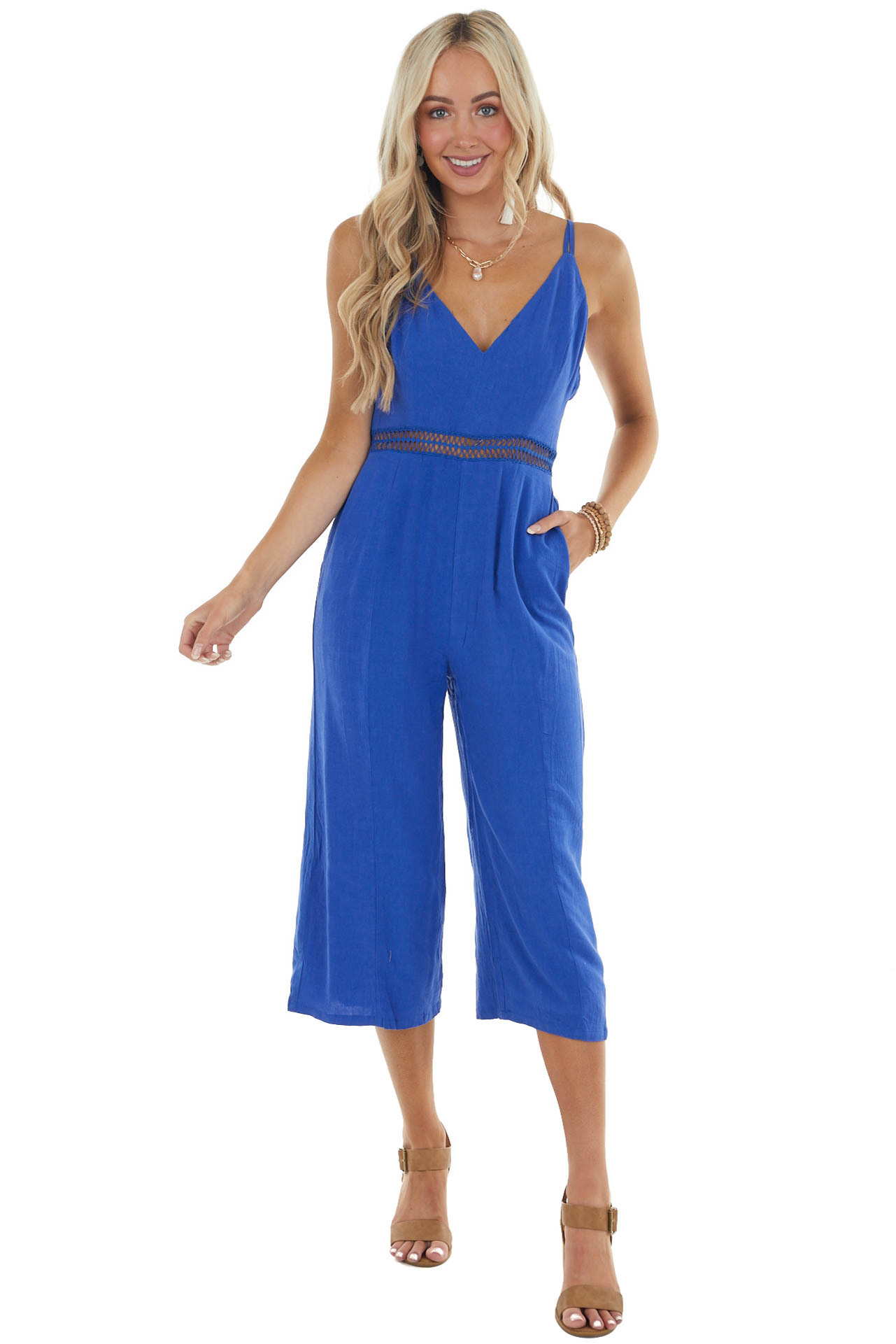 Royal Blue Sleeveless Jumpsuit with Lace Details on Waist