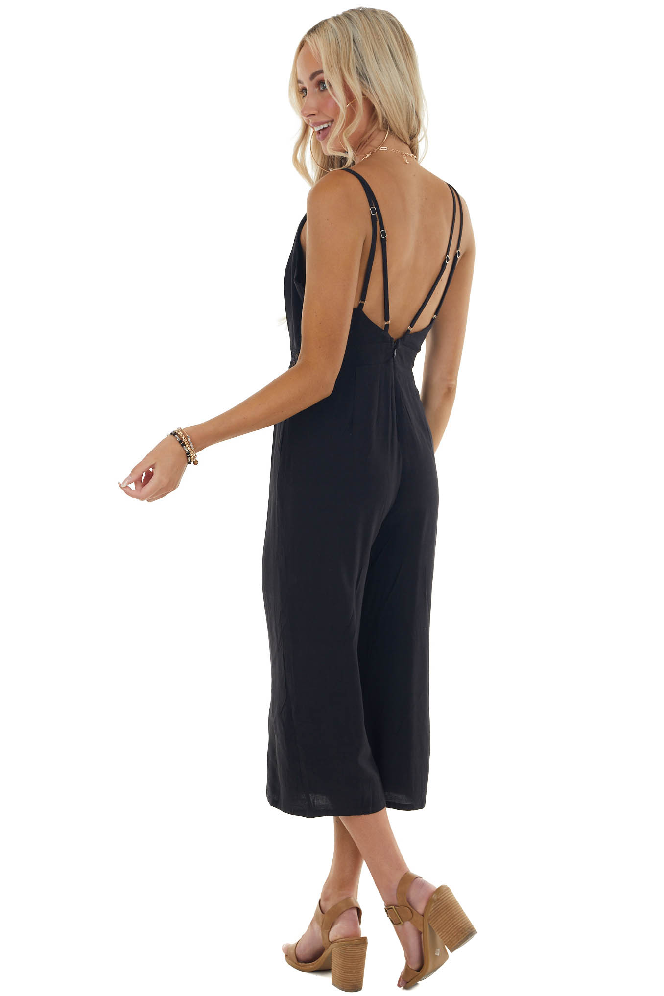 Black Sleeveless Jumpsuit with Lace Details on Waist