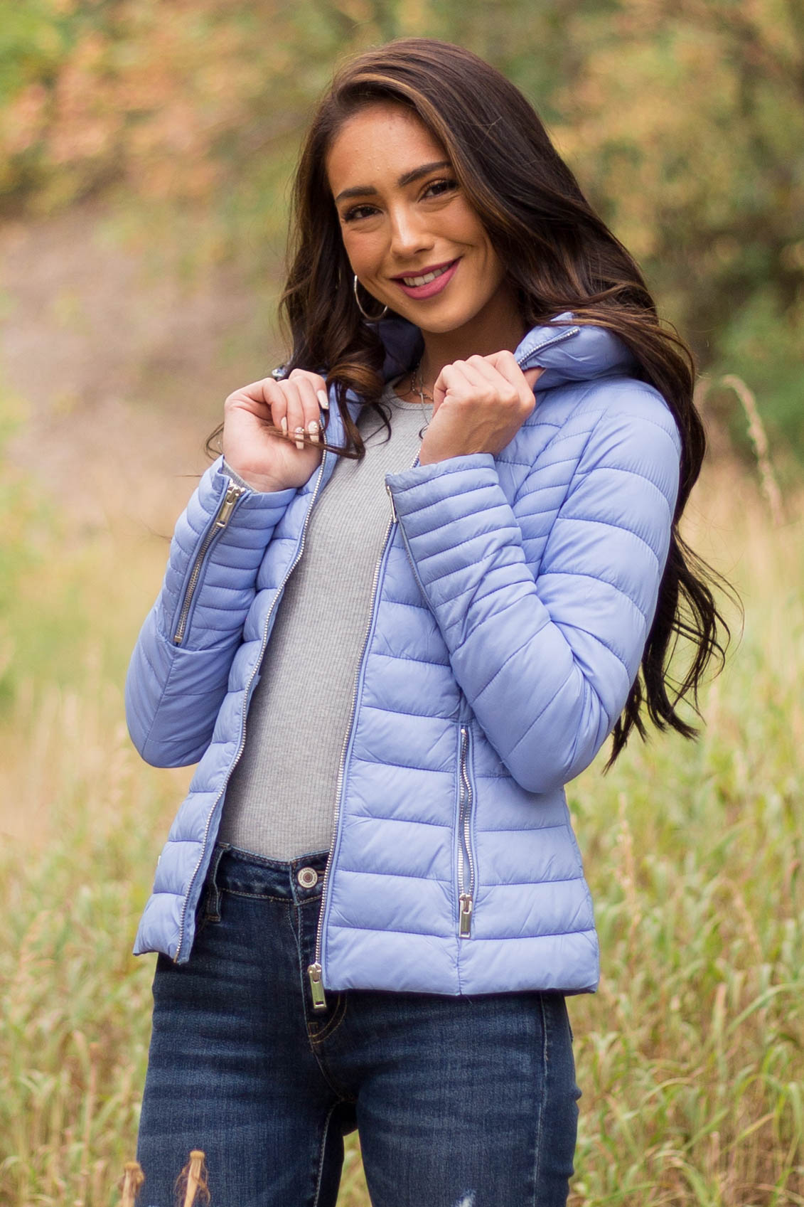 Powder Blue Puffer Coat with Front Zipper and Pockets