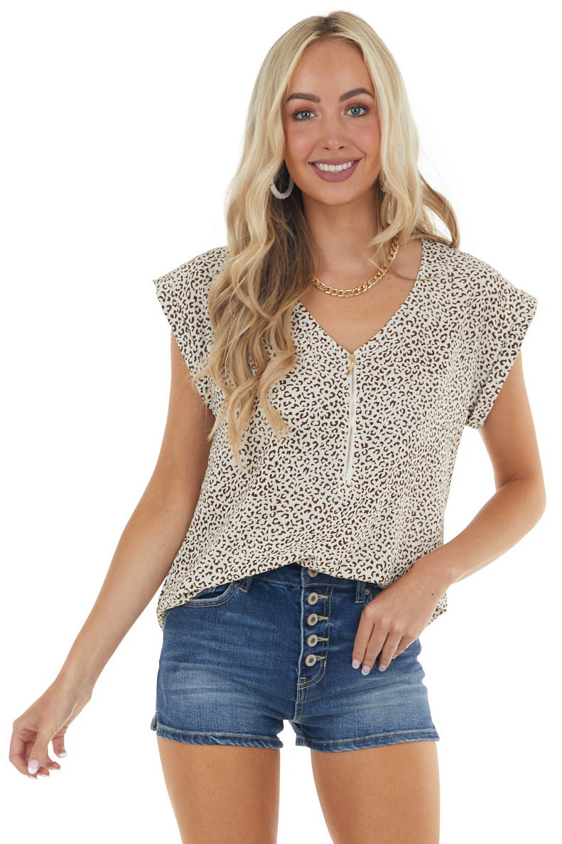 Cream and Mocha V Neck Top with Gold Zipper Detail