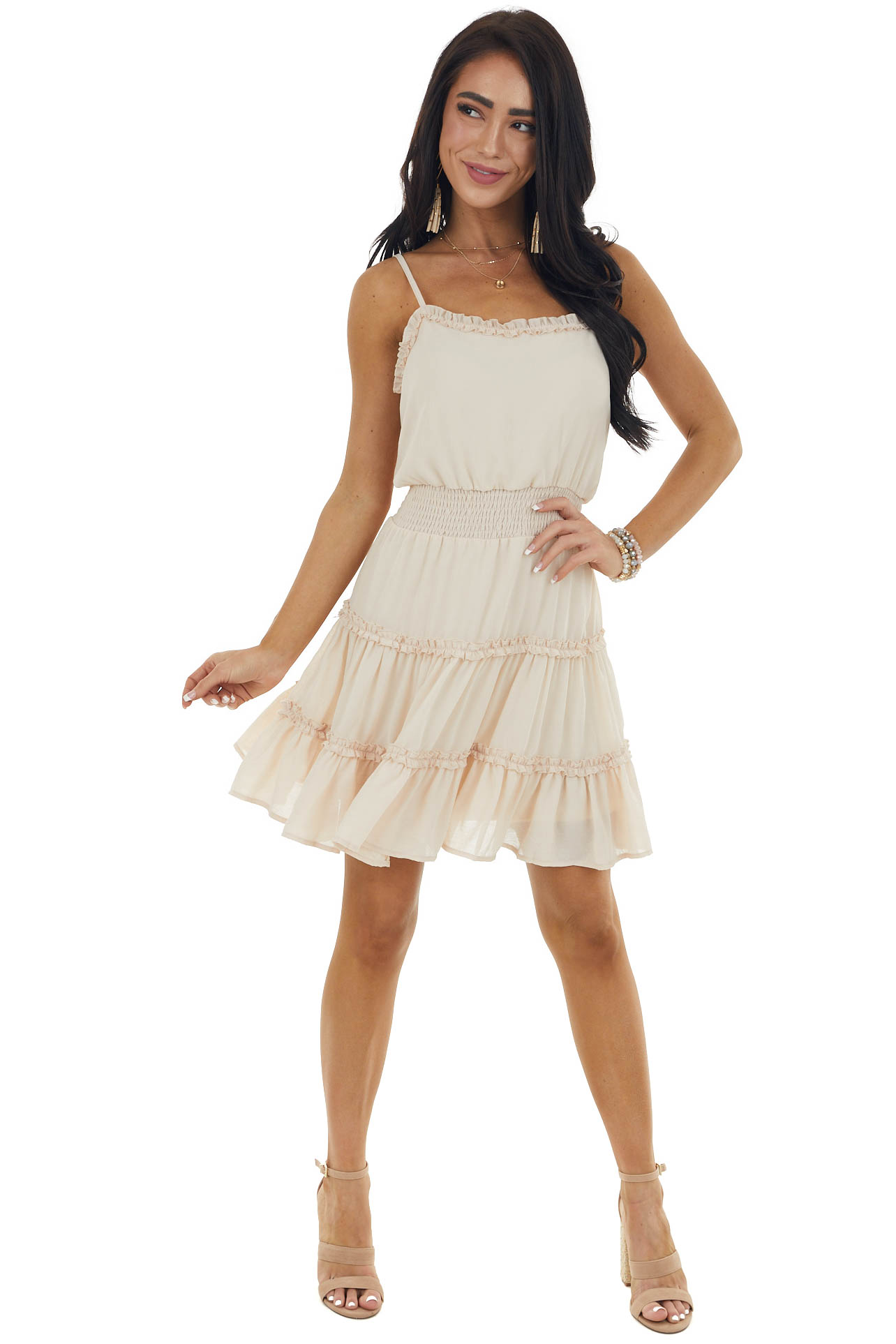 Beige Tiered Woven Mini Dress with Ruffle Detail and Straps