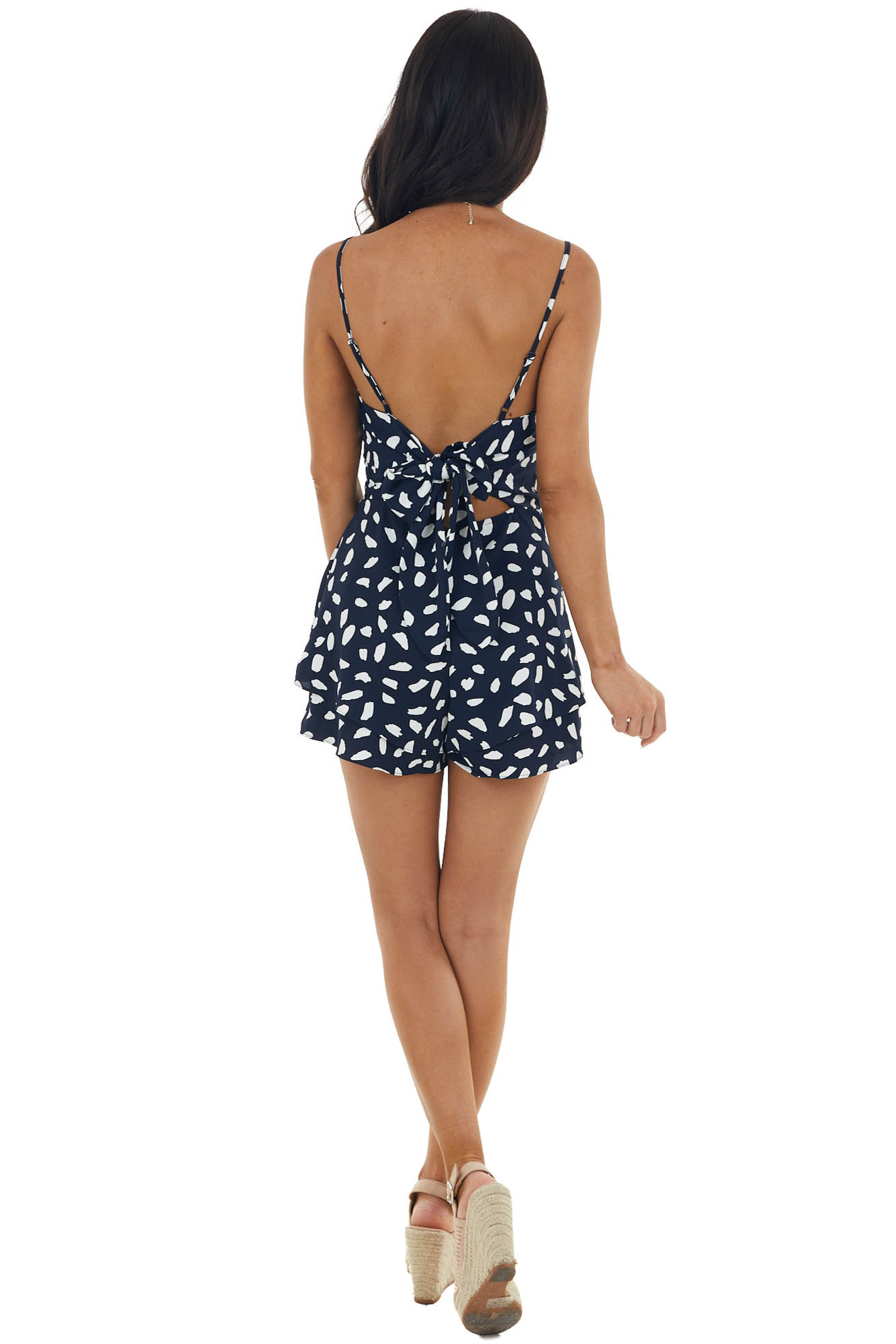 Dark Navy Abstract Print Strappy Woven Romper with Tie Back