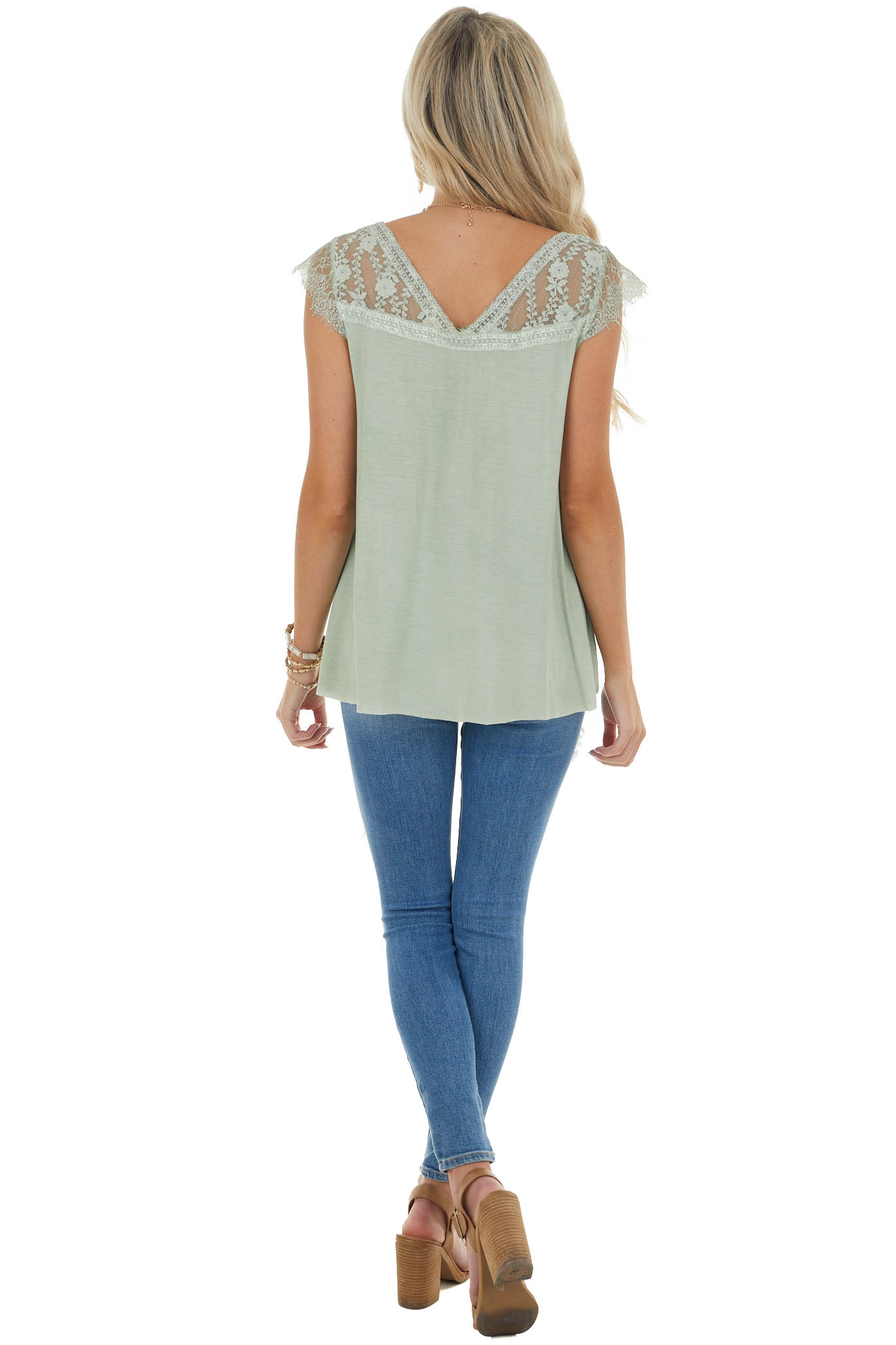 Sage Cap Sleeve Loose Knit Top with Crochet Lace Detail