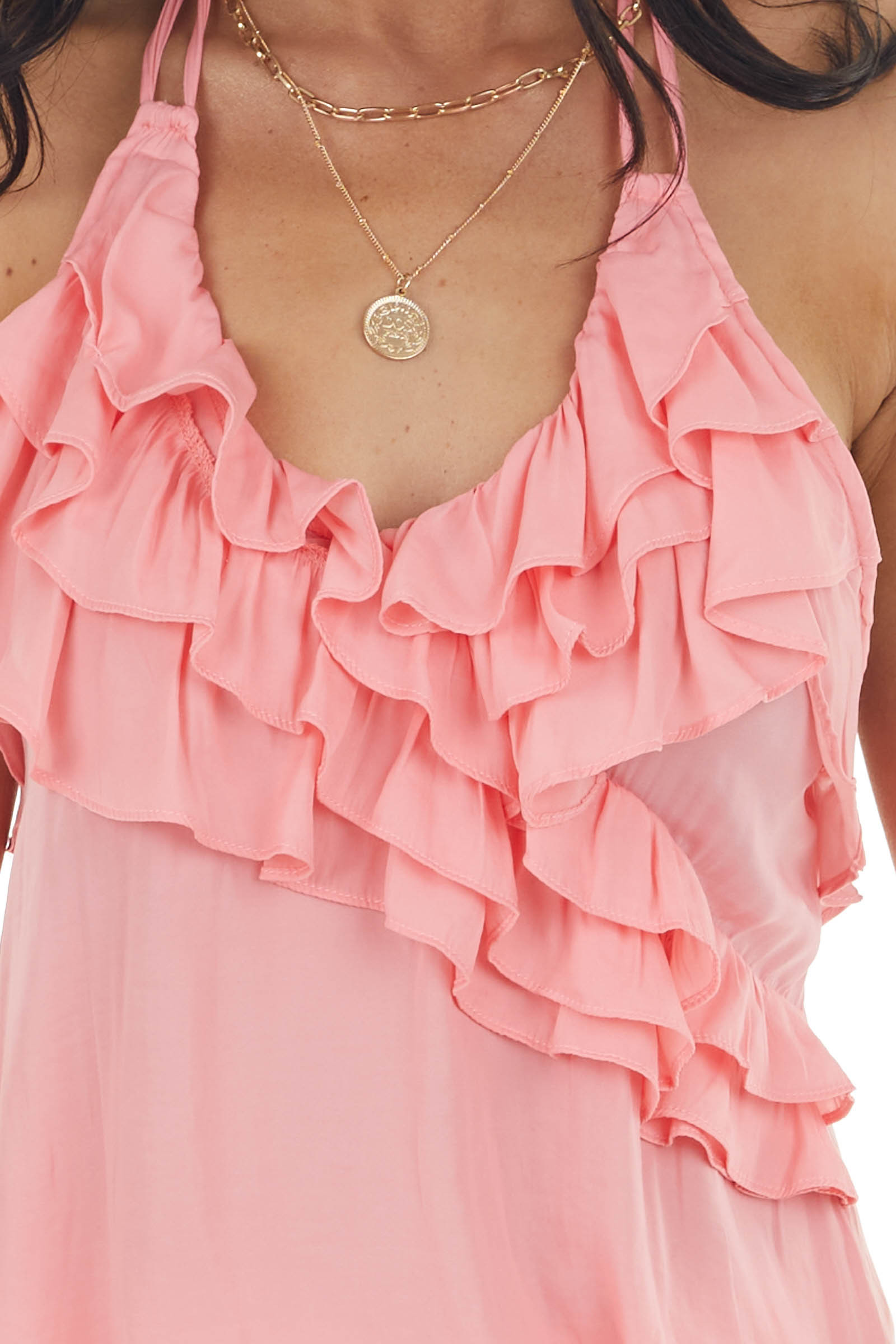 Punch Pink Halter Neck Open Back Top with Ruffle Details