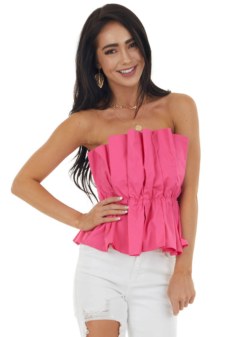 Neon Pink Strapless Pleated Woven Top with Elastic Waist