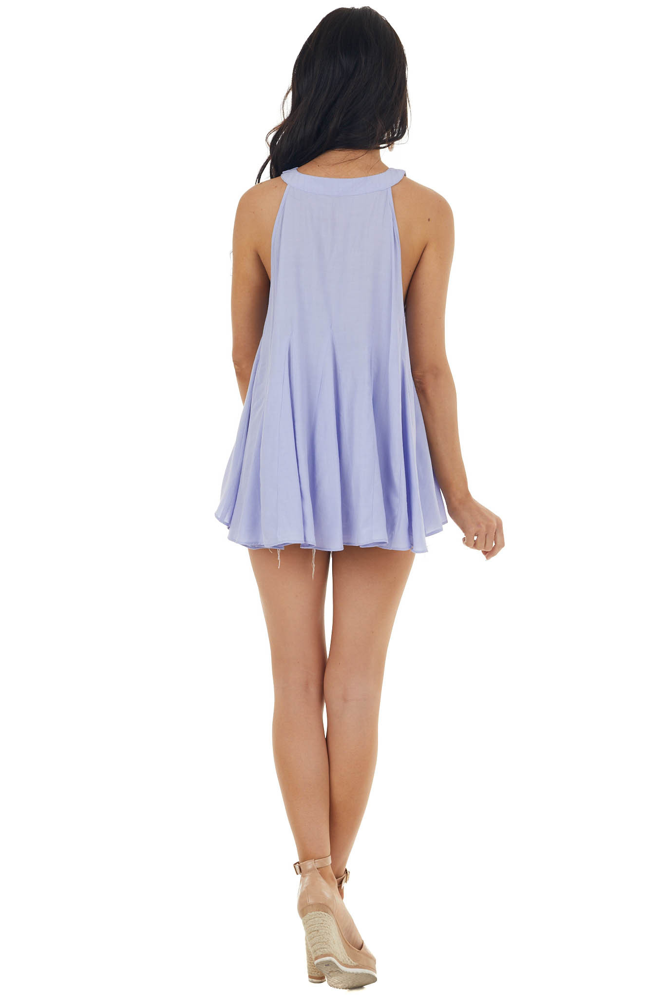Periwinkle Halter Neck Loose Fit Sleeveless Flare Blouse