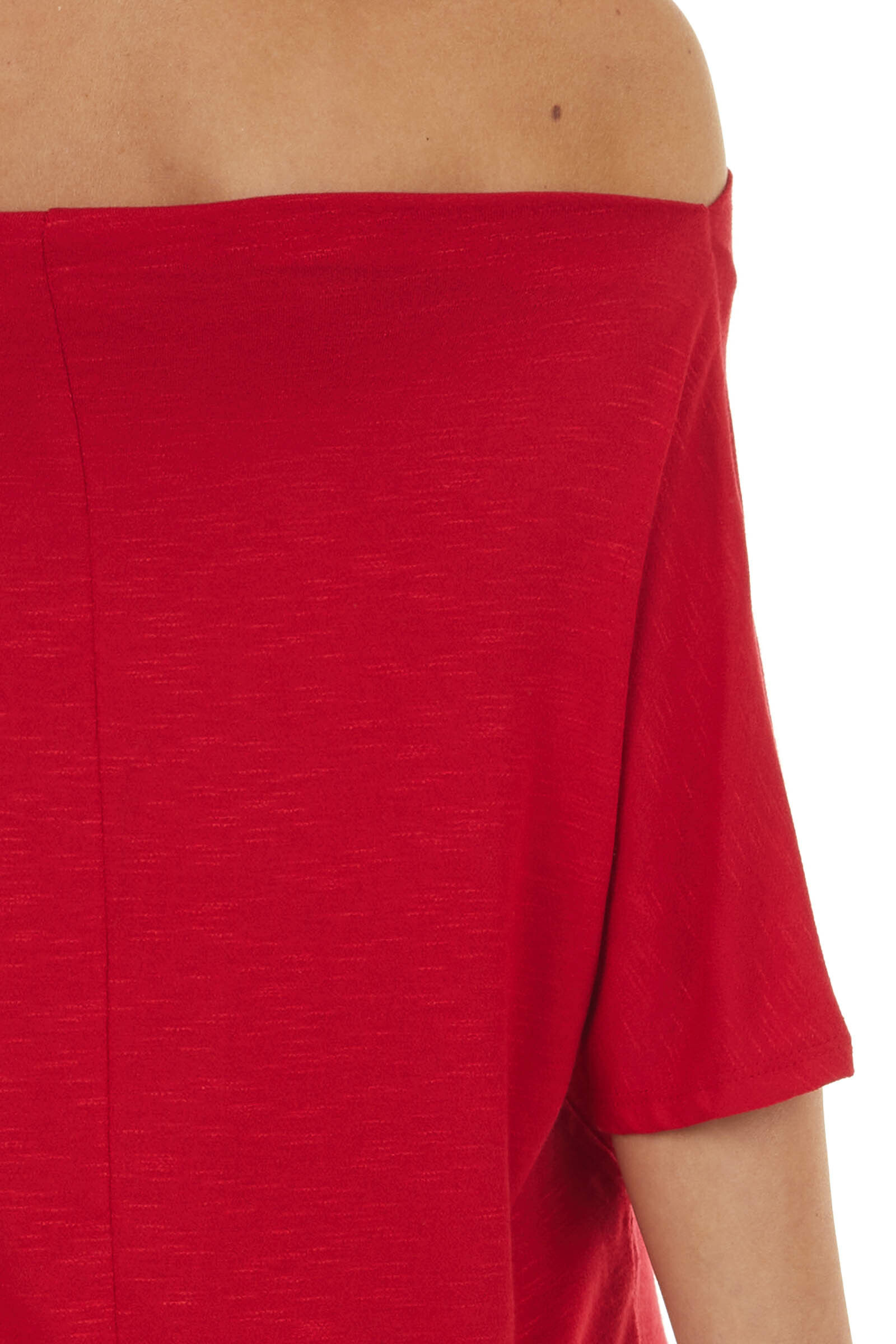 Heathered Cranberry Loose Fit Off the Shoulder Knit Tee