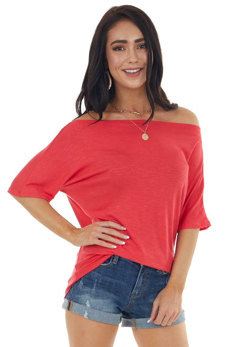 Dark Heathered Coral Loose Fit Off the Shoulder Knit Tee