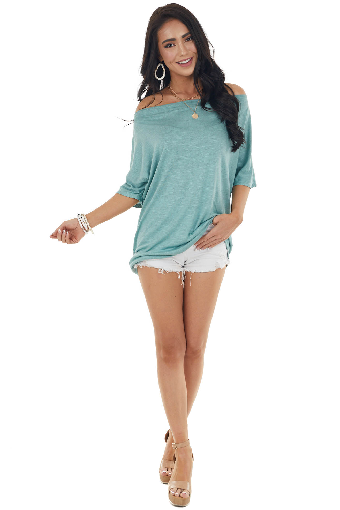 Light Heathered Teal Loose Fit Off the Shoulder Knit Tee