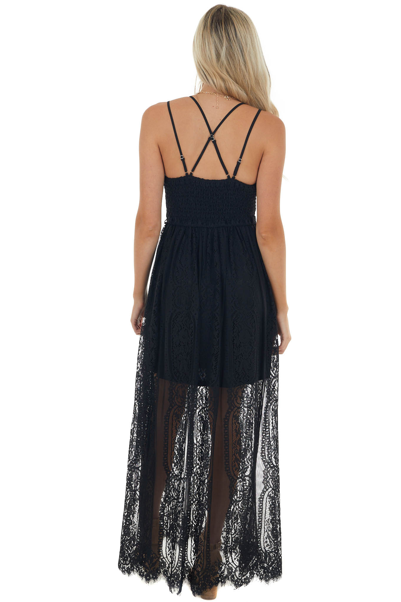 Black Lace Maxi Overlay Sleeveless Dress with Plunging Neck