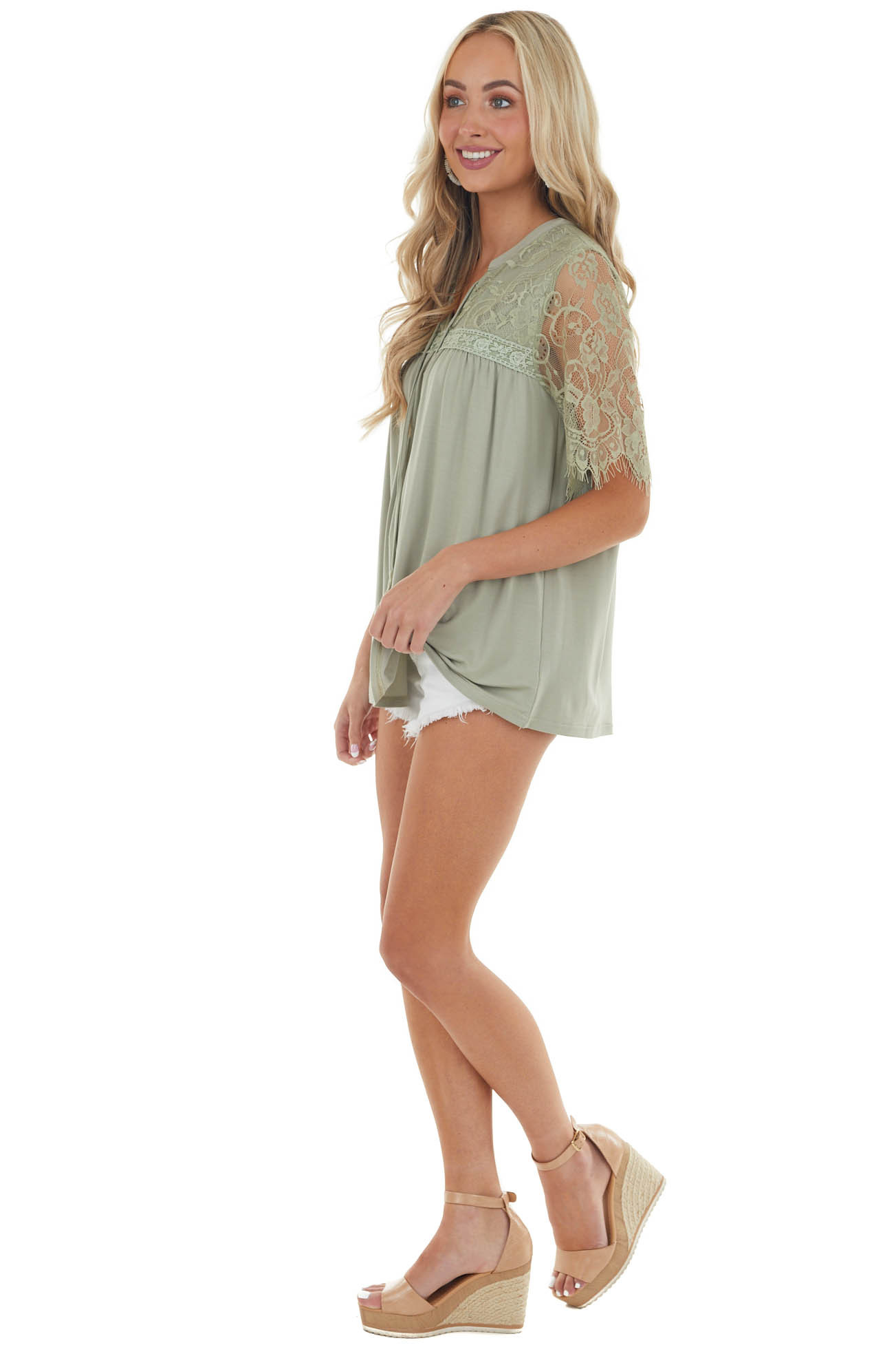 Pale Olive Short Sleeve Lace Yoke Knit Top with Front Tie