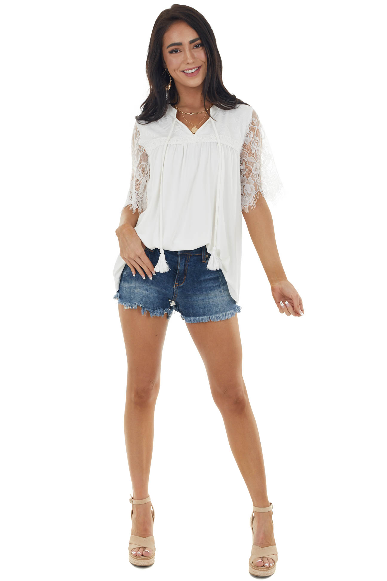 Off White Short Sleeve Lace Yoke Knit Top with Front Tie