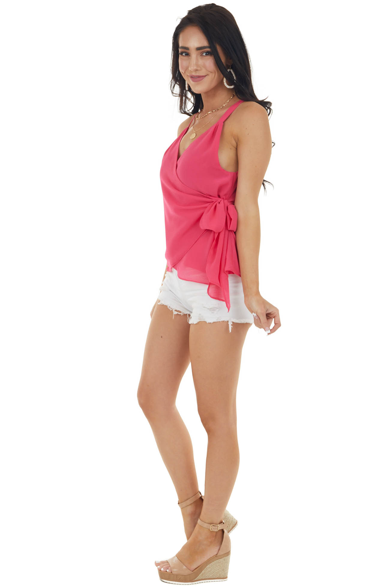 Hot Pink Surplice Woven Tank Top with Side Tie