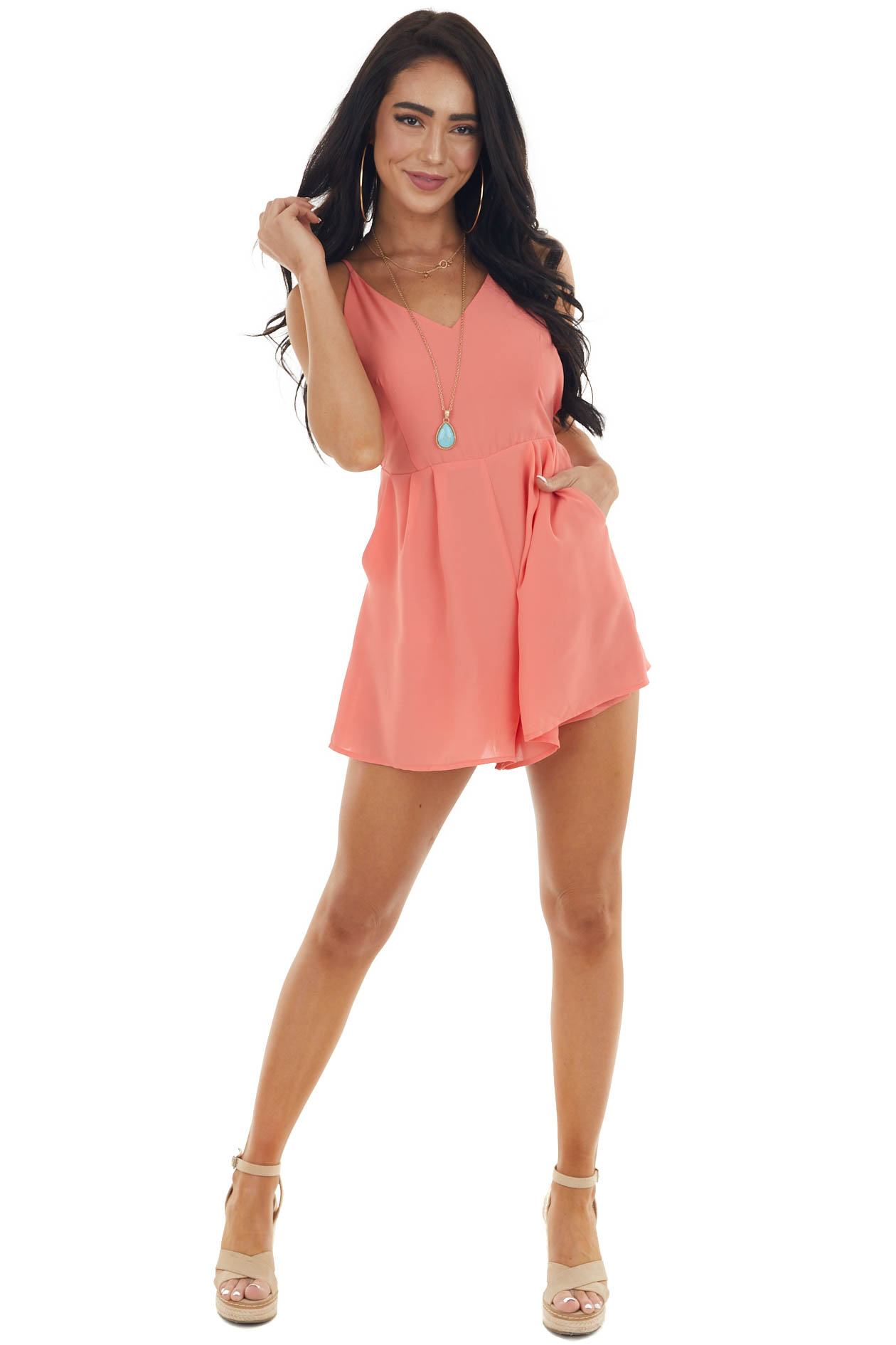 Coral Sleeveless V Neck Woven Romper with Back Tie Detail
