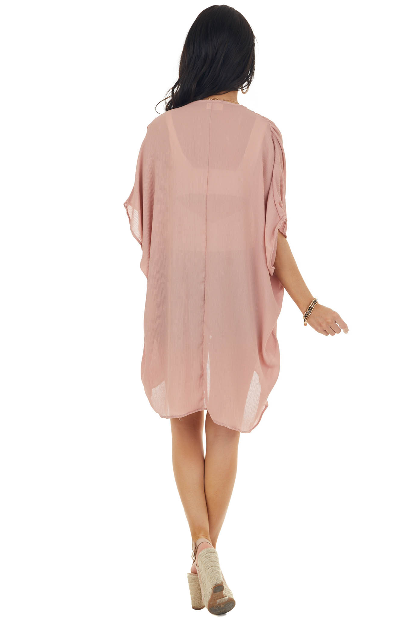 Rose Taupe Open Front Lightweight Textured Woven Kimono