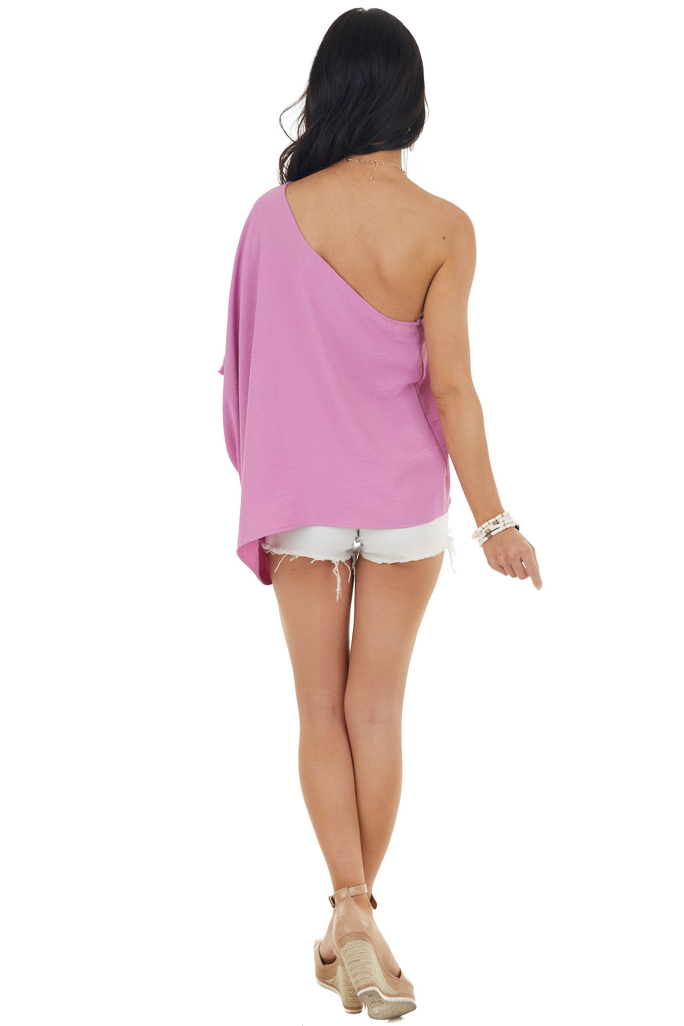Faded Mulberry One Shoulder Solid Textured Woven Top