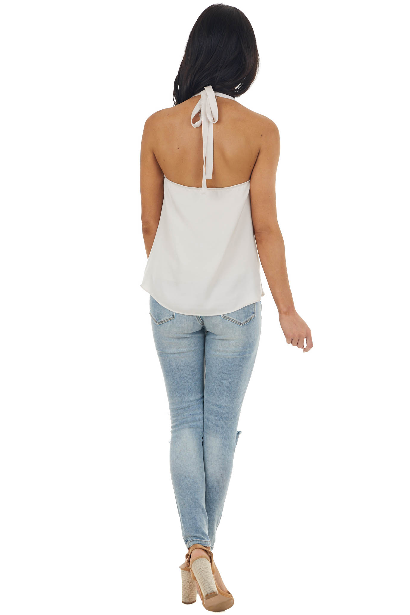 Champagne Halter Neck Top with Draped Front and Lace Details