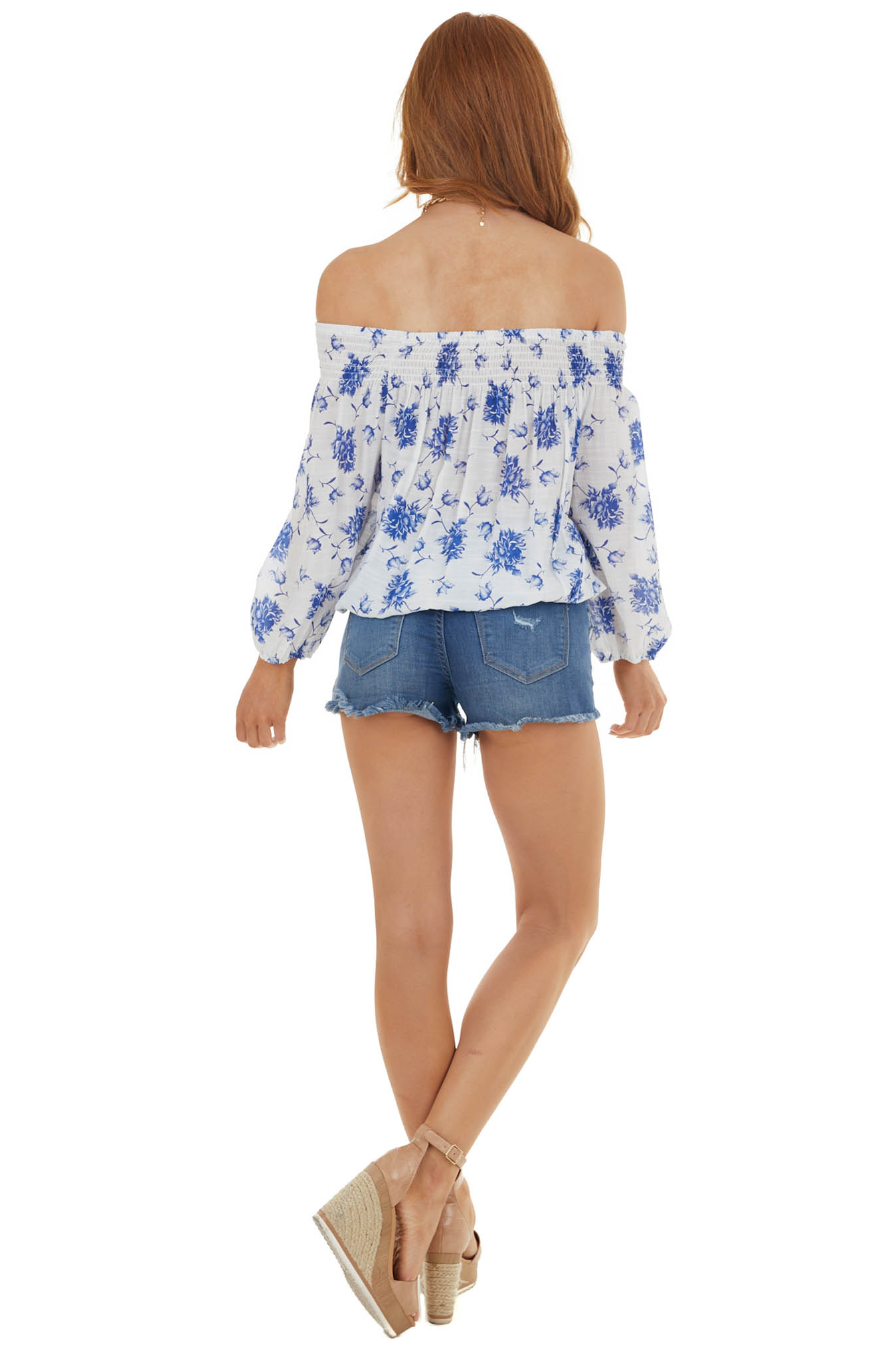 Navy and Eggshell Floral Print Off the Shoulder Woven Top