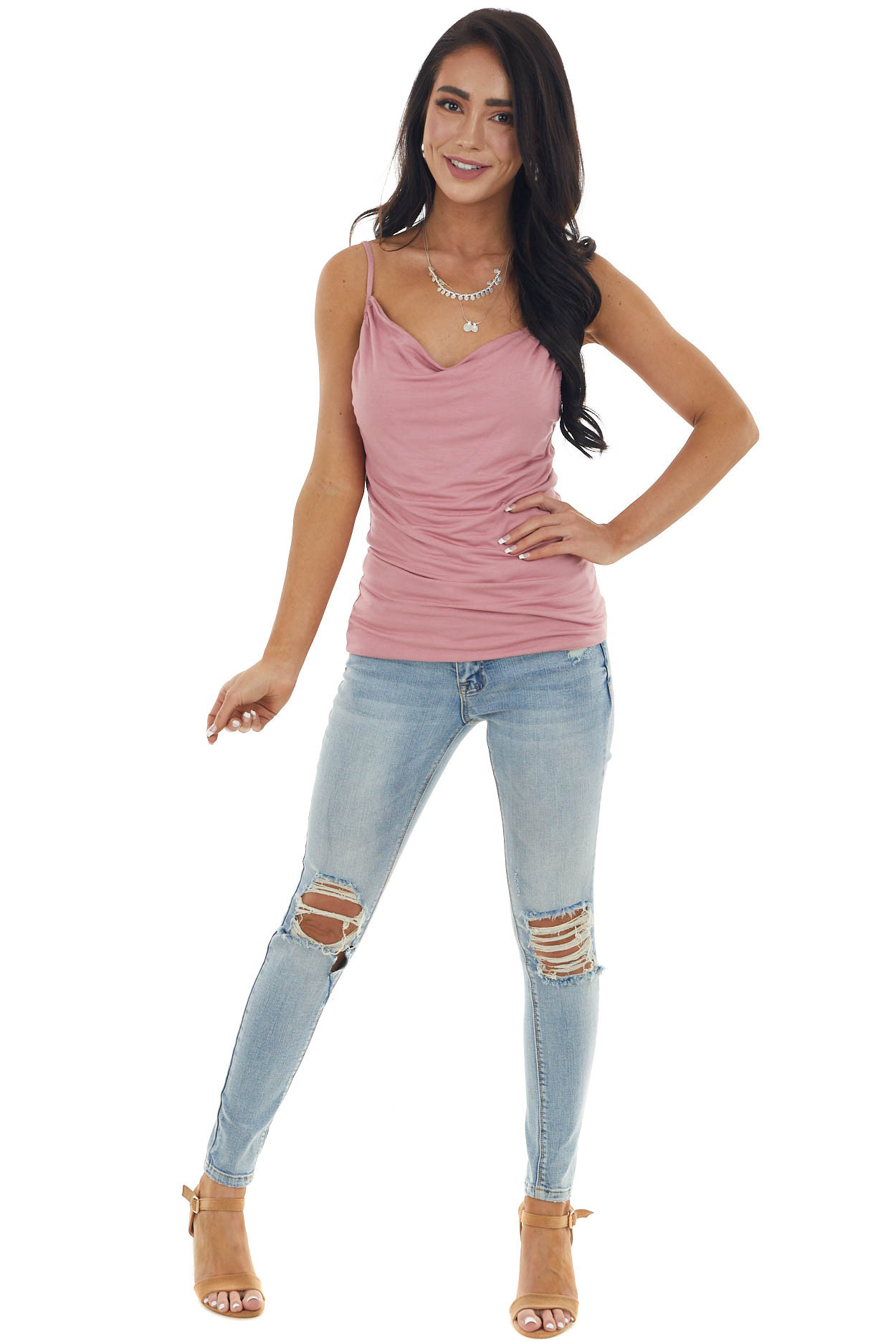 Dusty Rose Draped Neck Knit Camisole with High Low Hemline