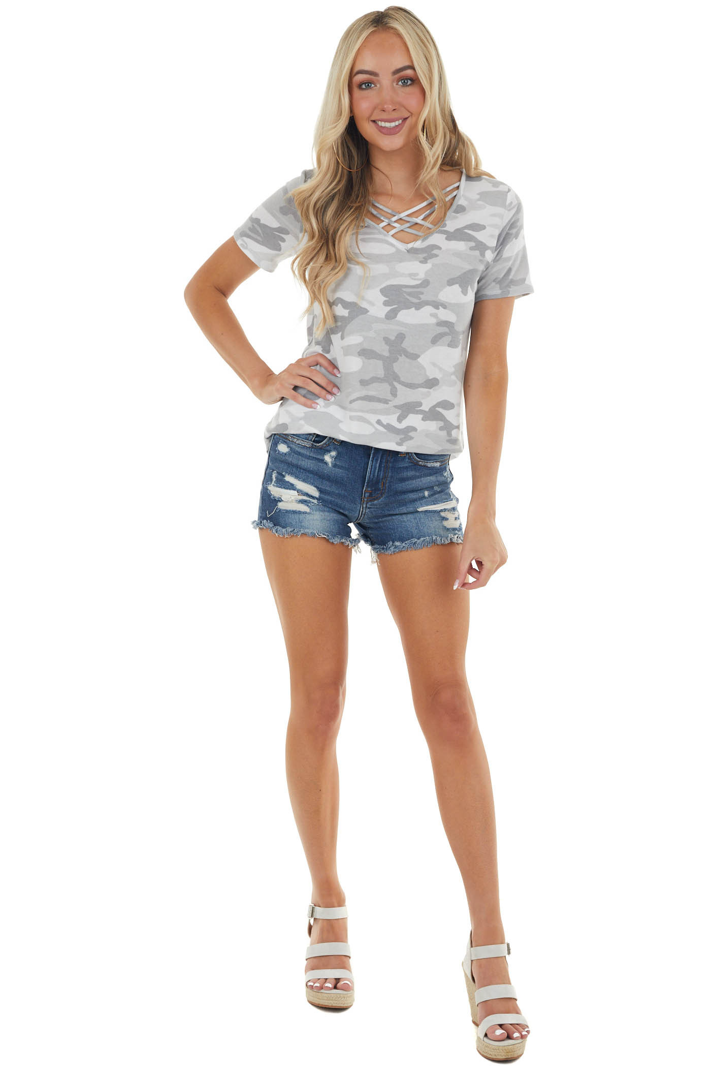 Grey Camo Print Criss Cross Neck Knit Top with Short Sleeves