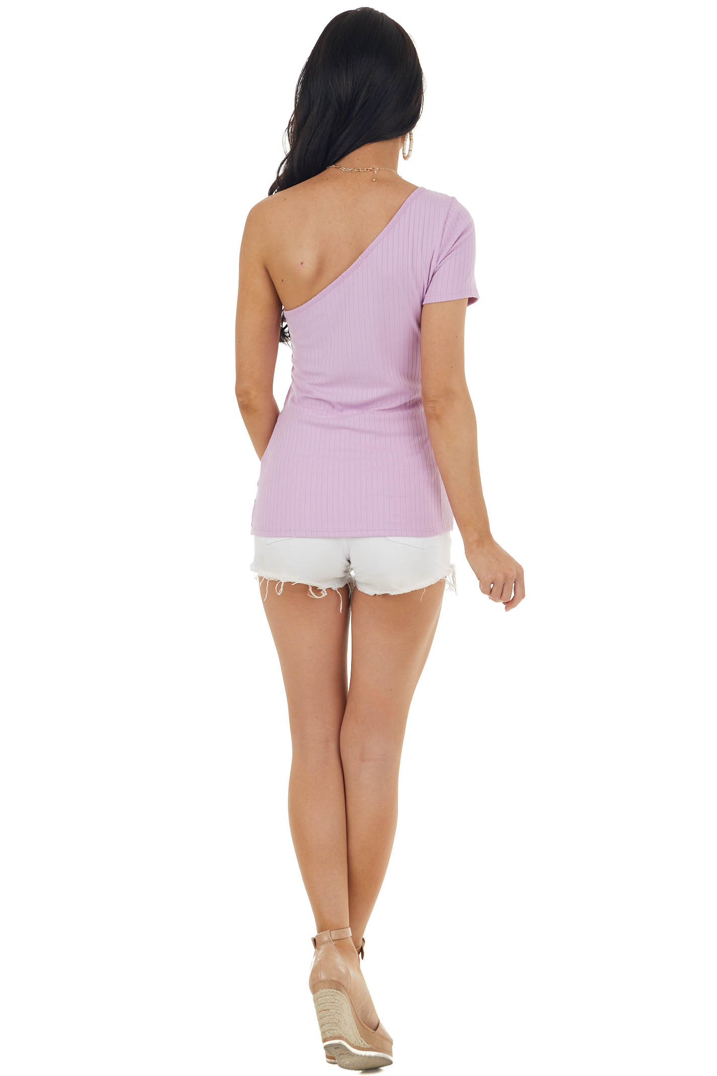 Iris Stretchy Ribbed Knit One Shoulder Short Sleeve Top