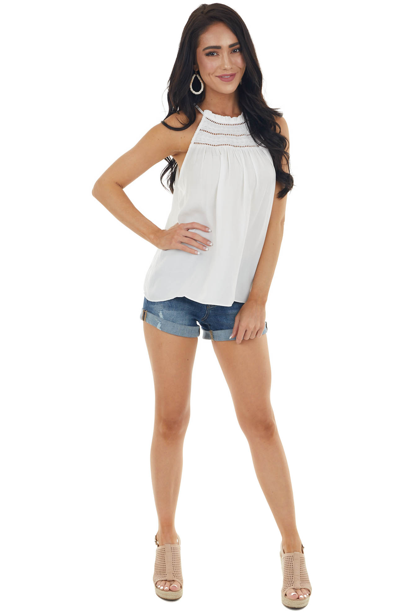 Off White Halter Neck Woven Blouse with Lace Details