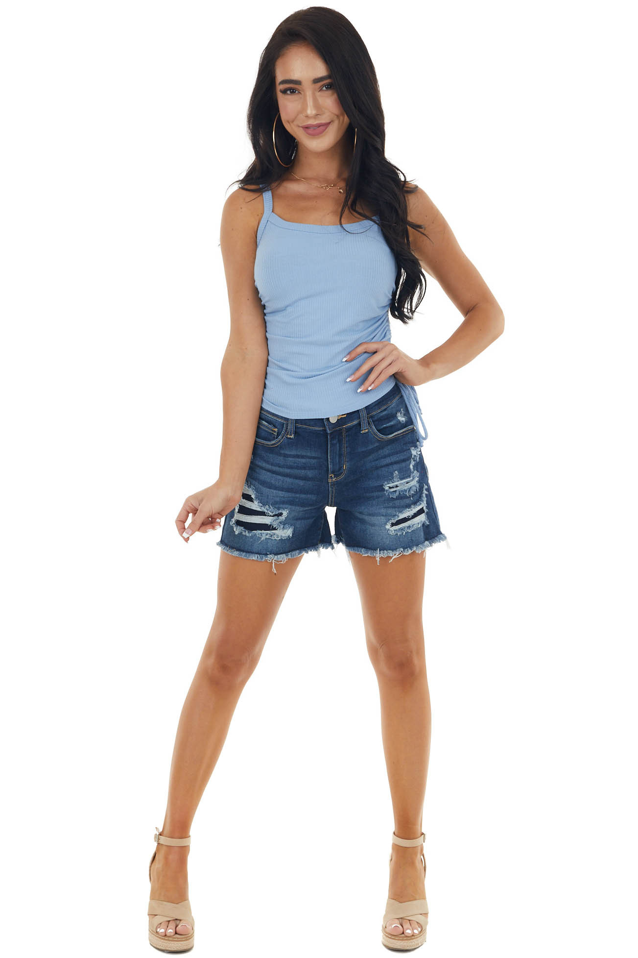 Blue Ribbed Cropped Knit Tank Top with Side Ruching Detail
