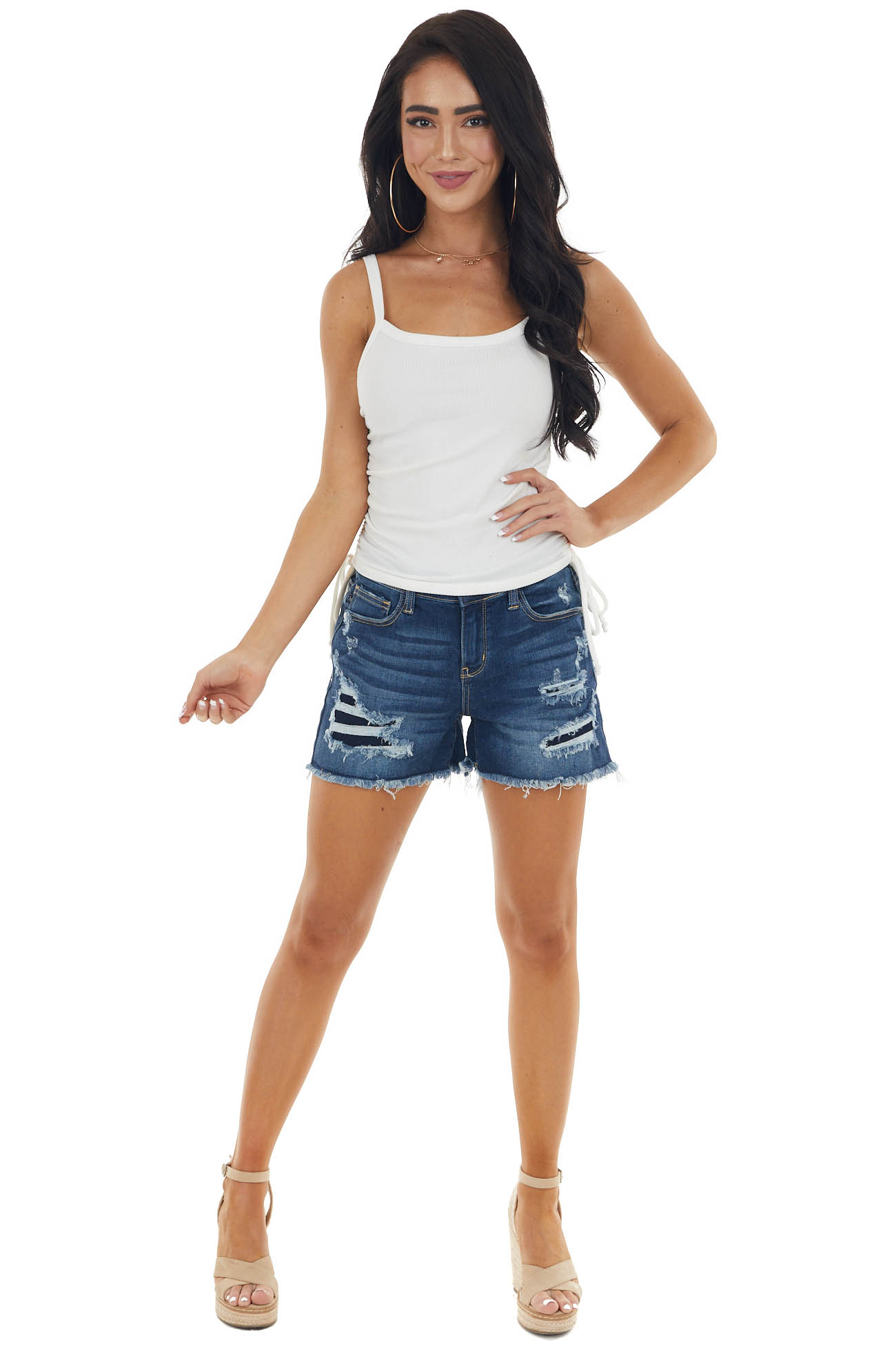 Ivory Ribbed Cropped Knit Tank Top with Side Ruching Detail