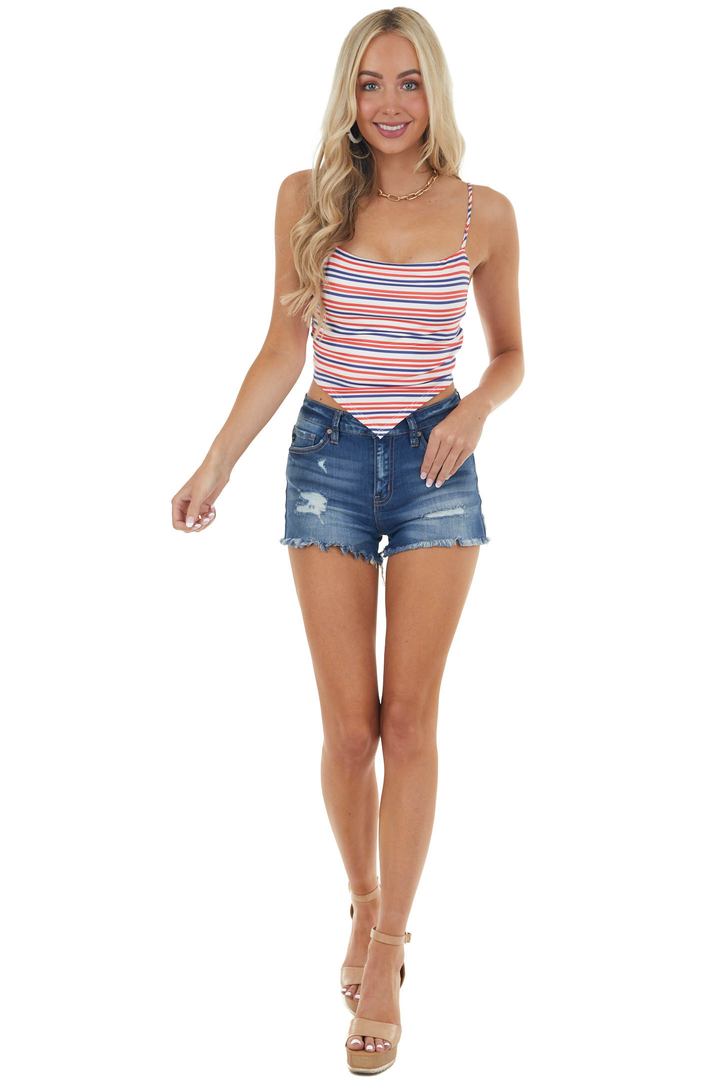Navy and Ruby Red Striped Spaghetti Strap Soft Knit Crop Top