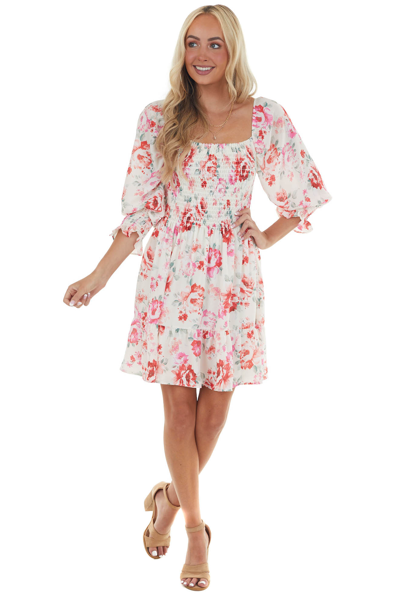 Cream and Ruby and Smocked Bust Long Sleeve Mini Dress