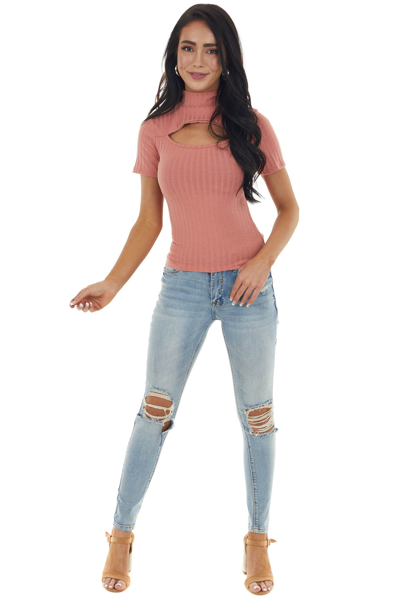 Light Terracotta Chest Cut Out Mock Neckline Ribbed Knit Top