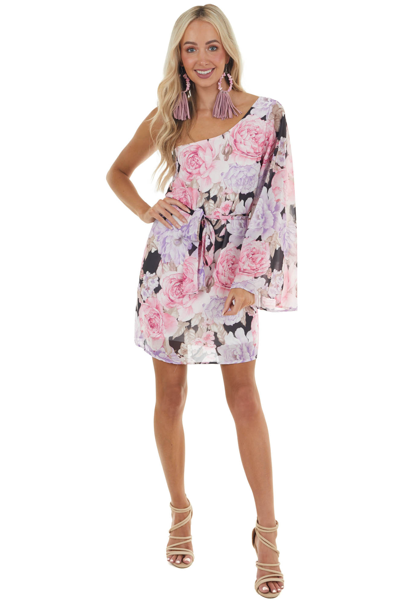 Carnation and Iris Floral Print One Shoulder Woven Dress